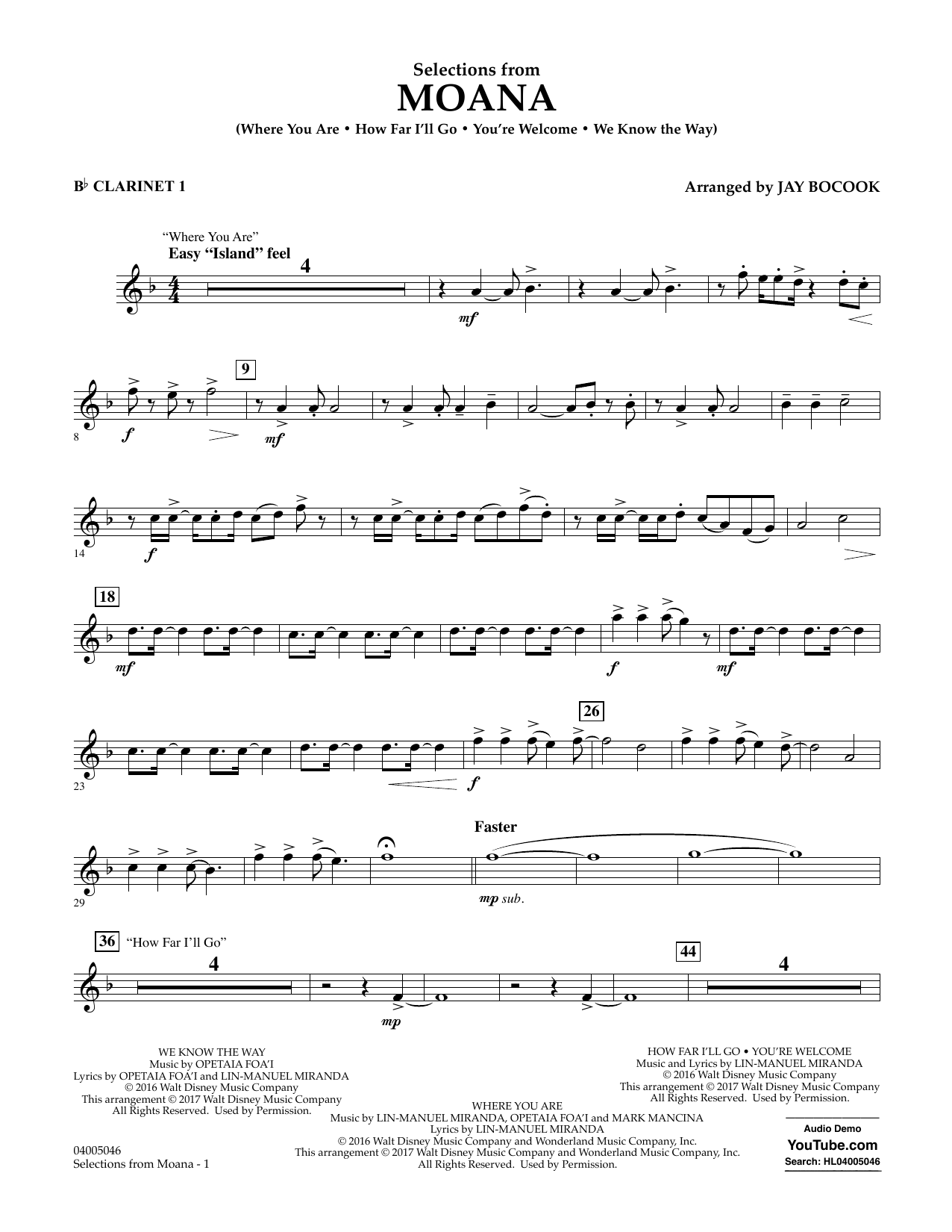 Selections from Moana - Bb Clarinet 1 Sheet Music