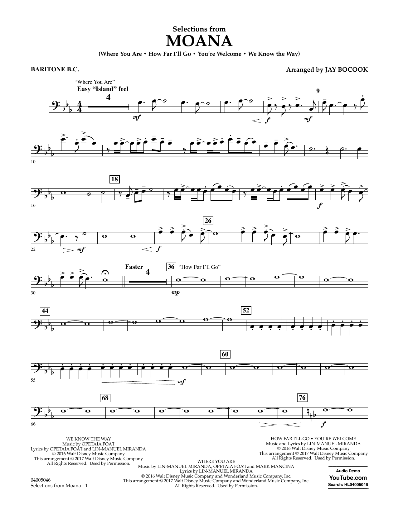 Selections from Moana - Baritone B.C. Sheet Music