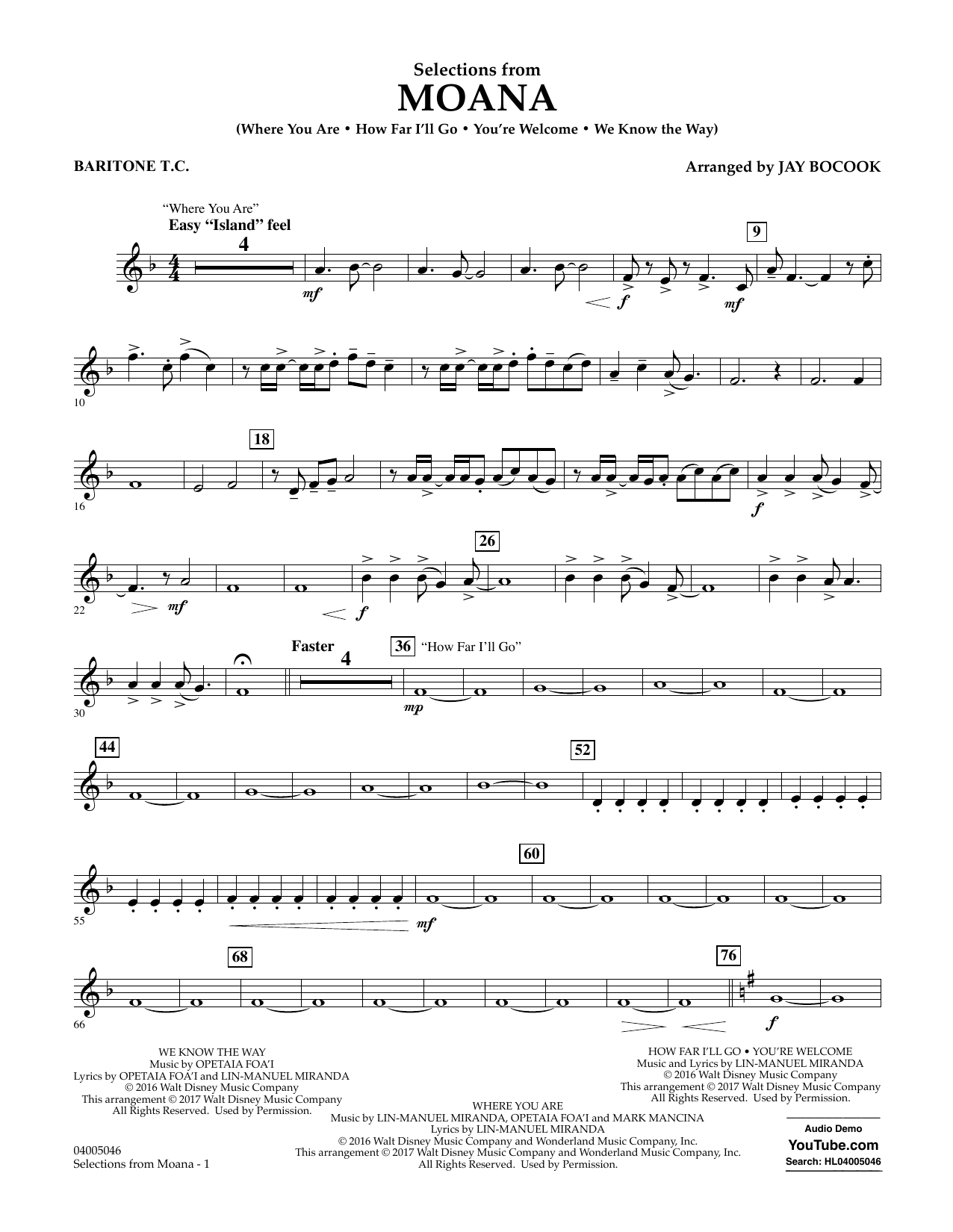 Selections from Moana - Baritone T.C. Sheet Music
