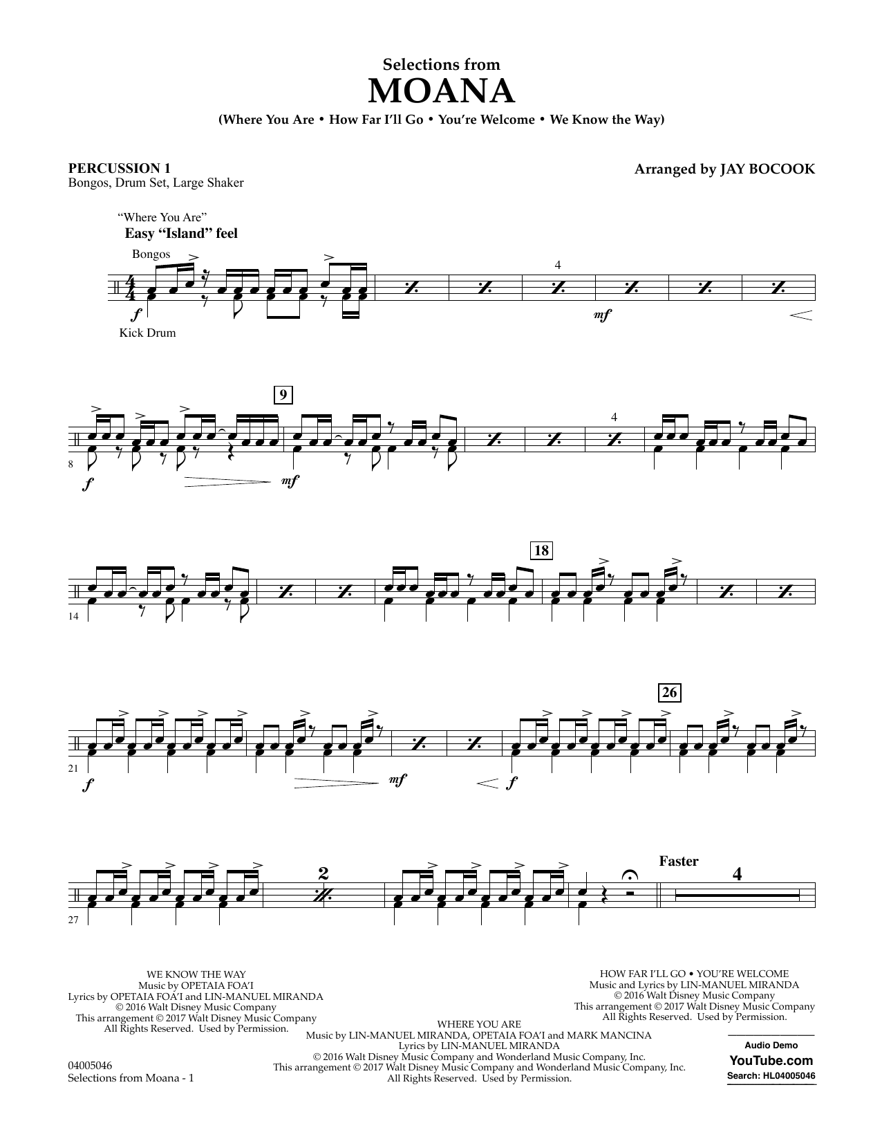 Selections from Moana - Percussion 1 Sheet Music