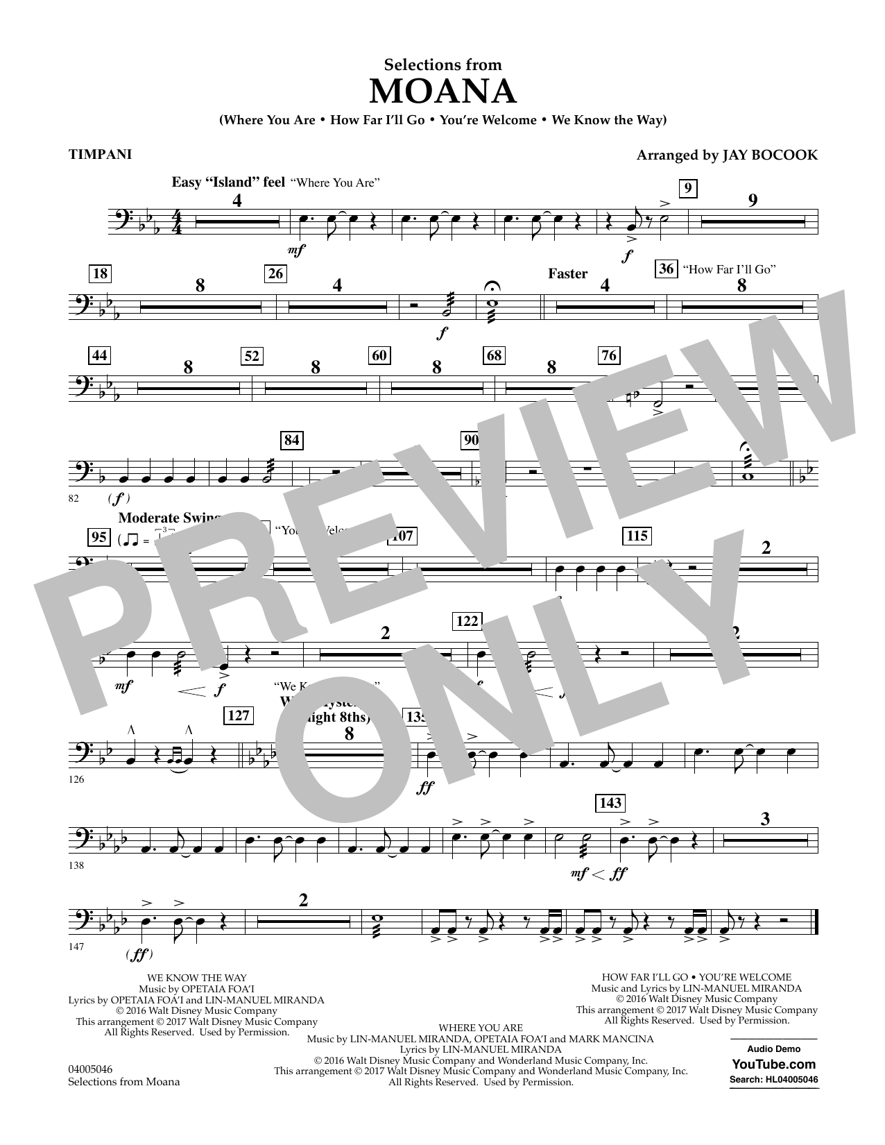 Selections from Moana - Timpani Sheet Music