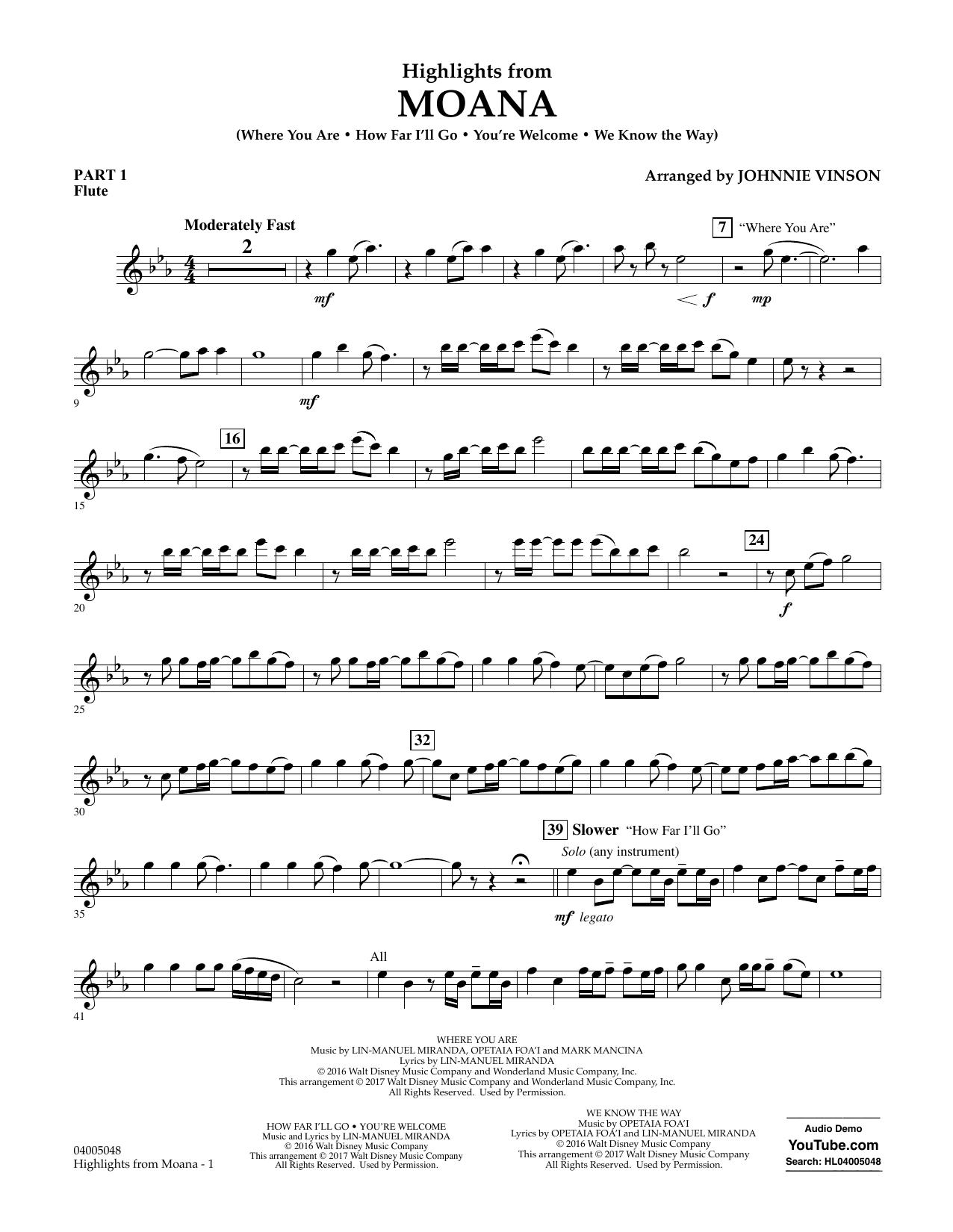 Highlights from Moana - Pt.1 - Flute Sheet Music