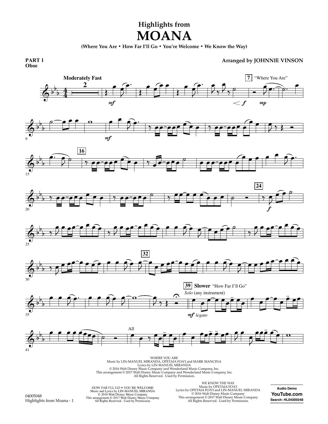 Highlights from Moana - Pt.1 - Oboe Sheet Music