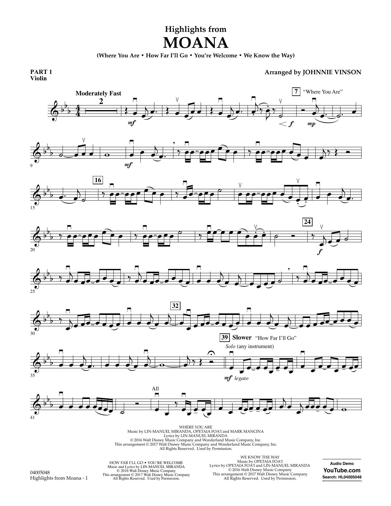 Highlights from Moana - Pt.1 - Violin Sheet Music