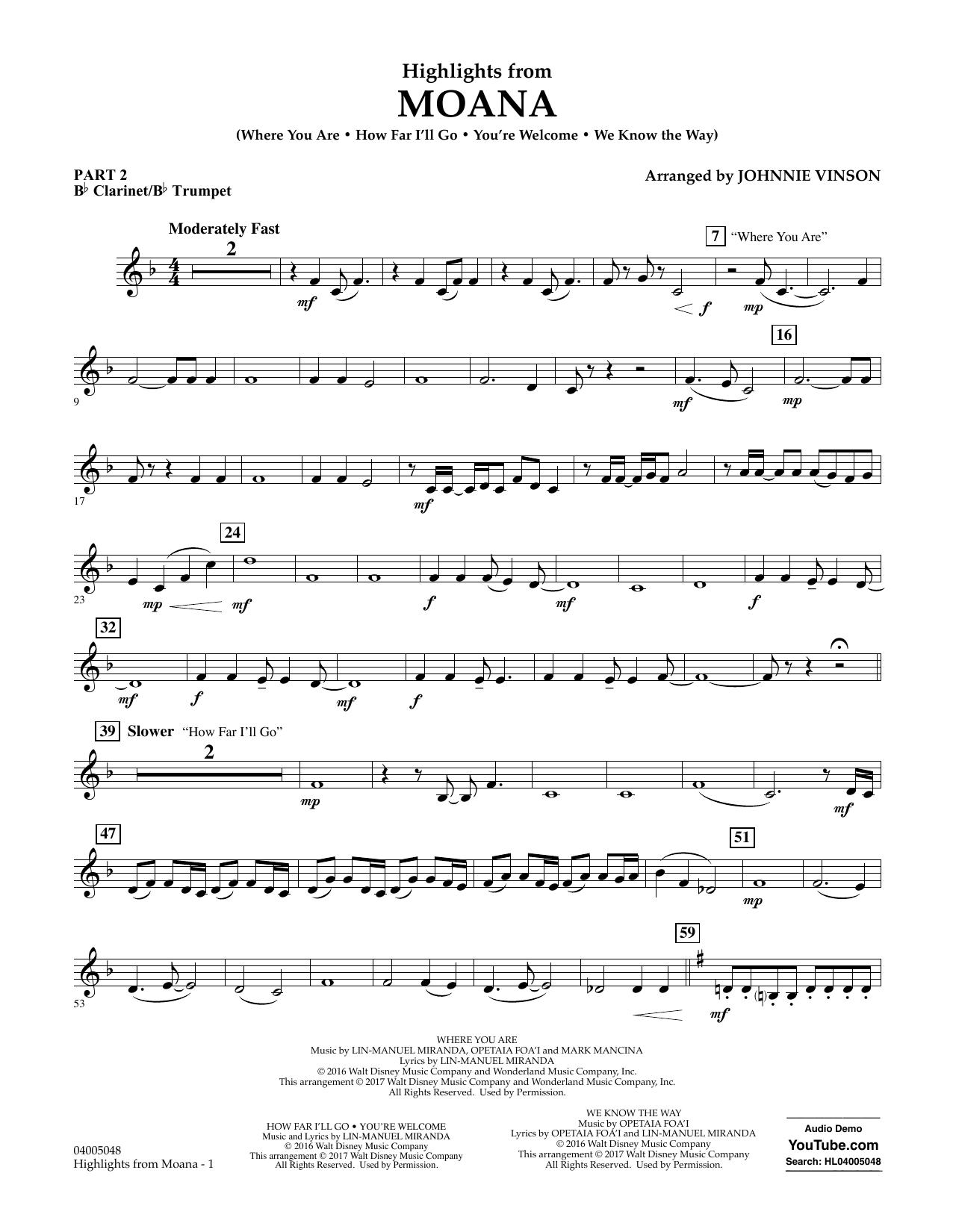 Highlights from Moana - Pt.2 - Bb Clarinet/Bb Trumpet Sheet Music