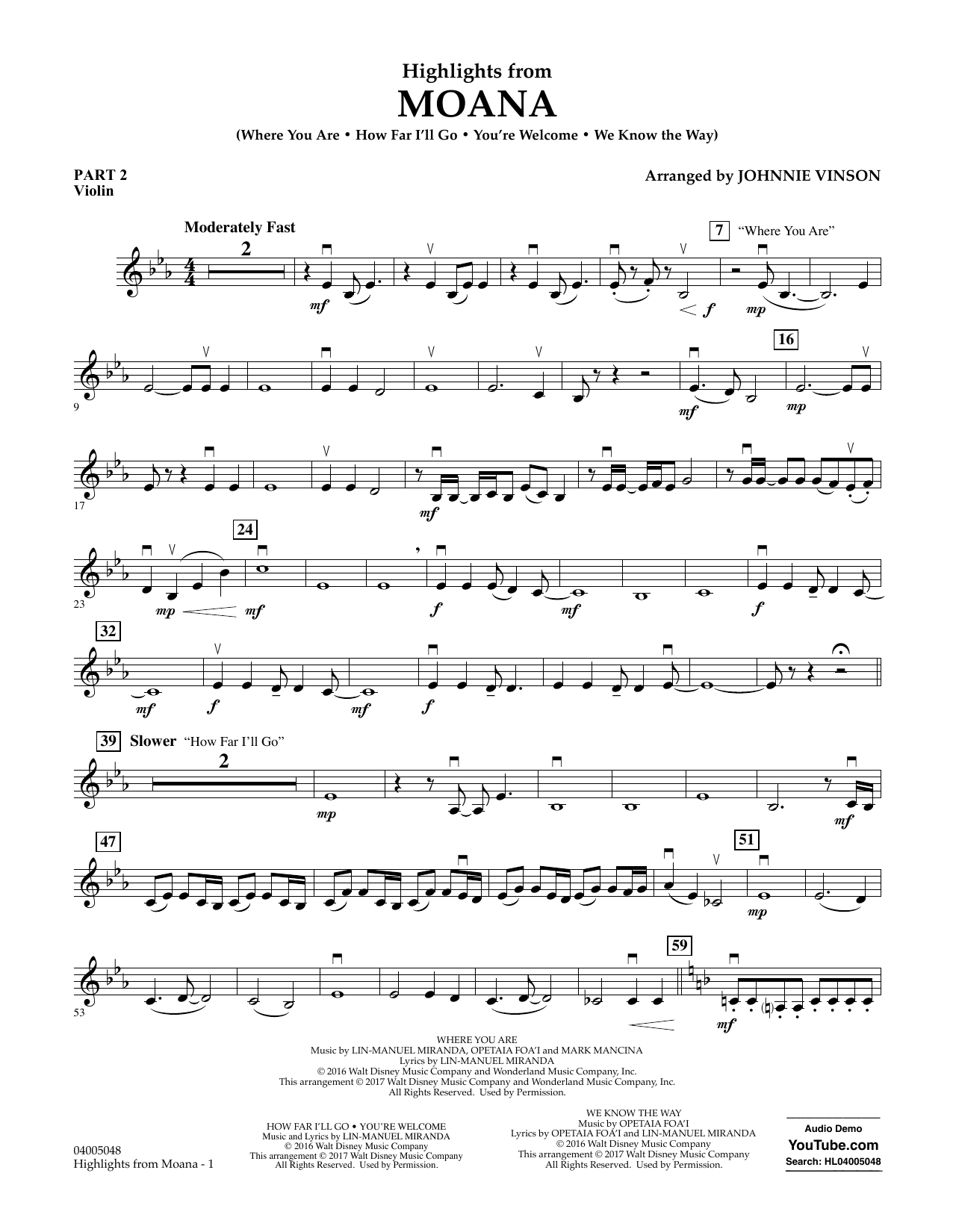 Highlights from Moana - Pt.2 - Violin Sheet Music