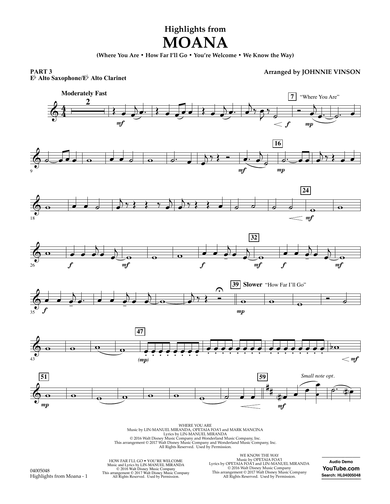Highlights from Moana - Pt.3 - Eb Alto Sax/Alto Clar. Sheet Music
