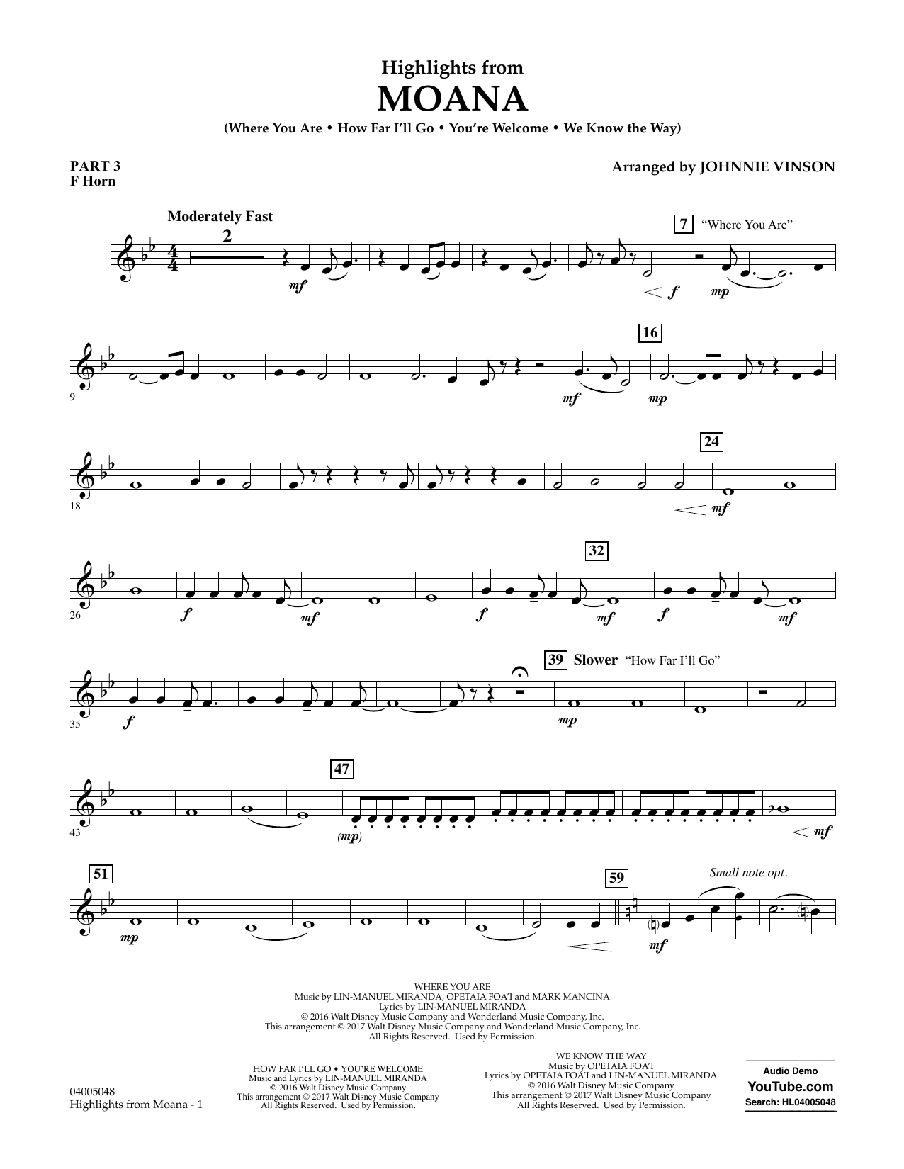 Highlights from Moana - Pt.3 - F Horn Sheet Music
