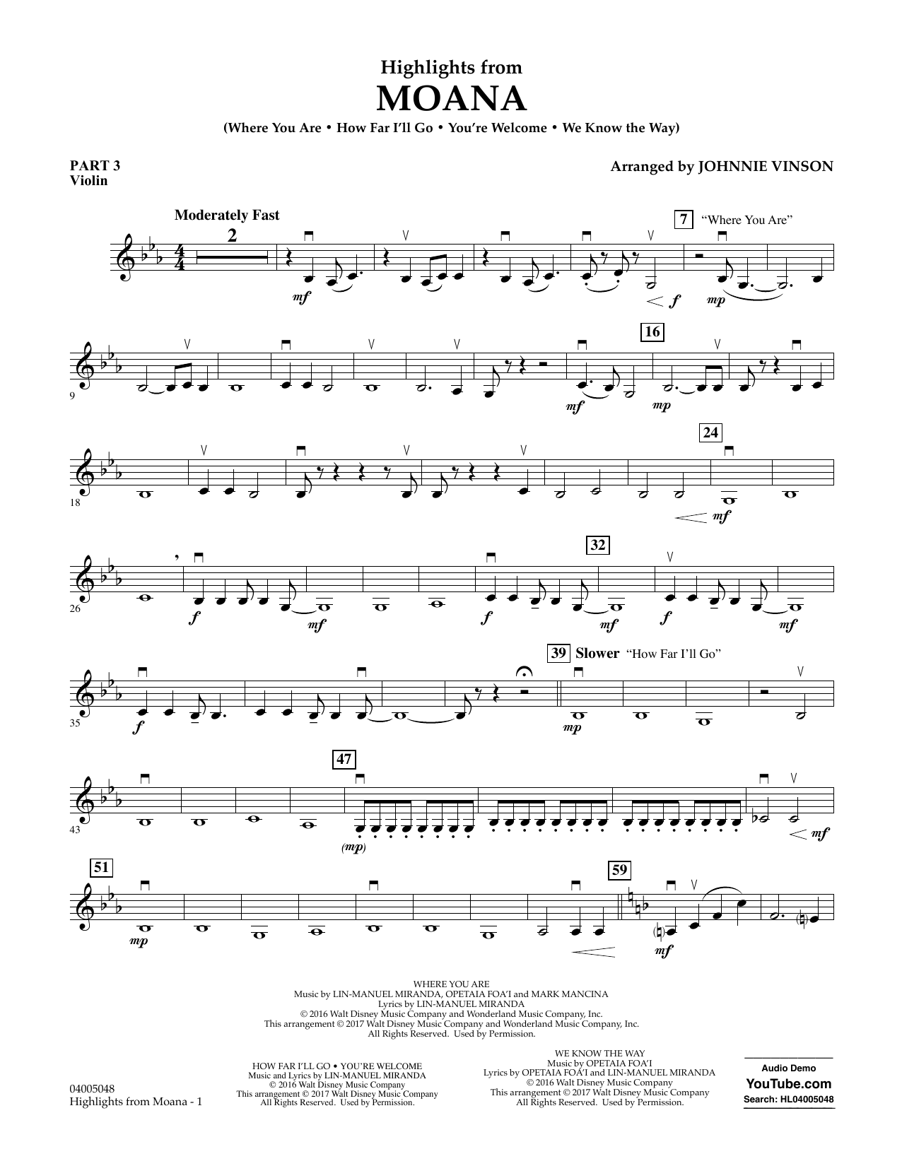 Highlights from Moana - Pt.3 - Violin (Concert Band: Flex-Band)