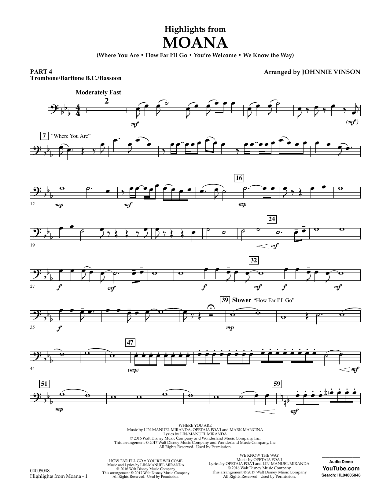 Highlights from Moana - Pt.4 - Trombone/Bar. B.C./Bsn. Sheet Music