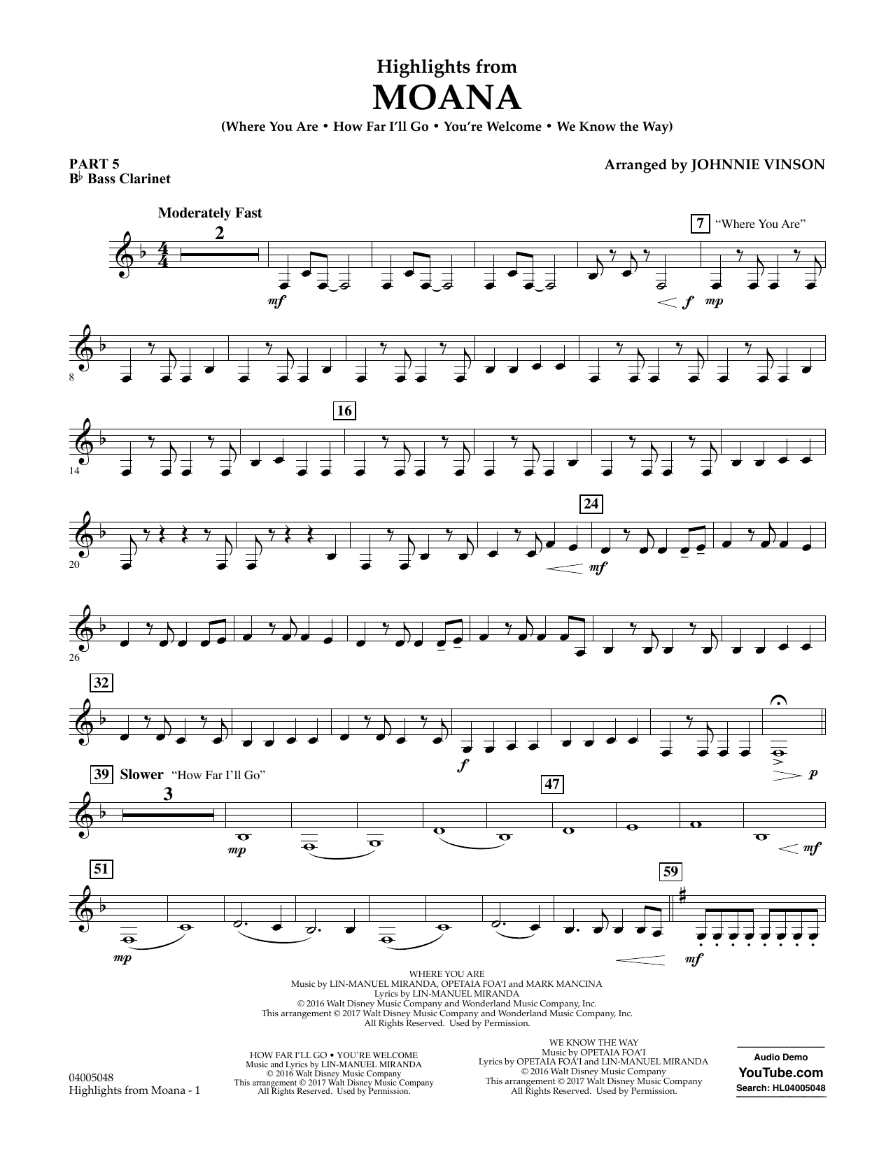 Highlights From Moana Pt5 Bb Bass Clarinet By Johnnie Vinson Concert Band Digital Sheet Music