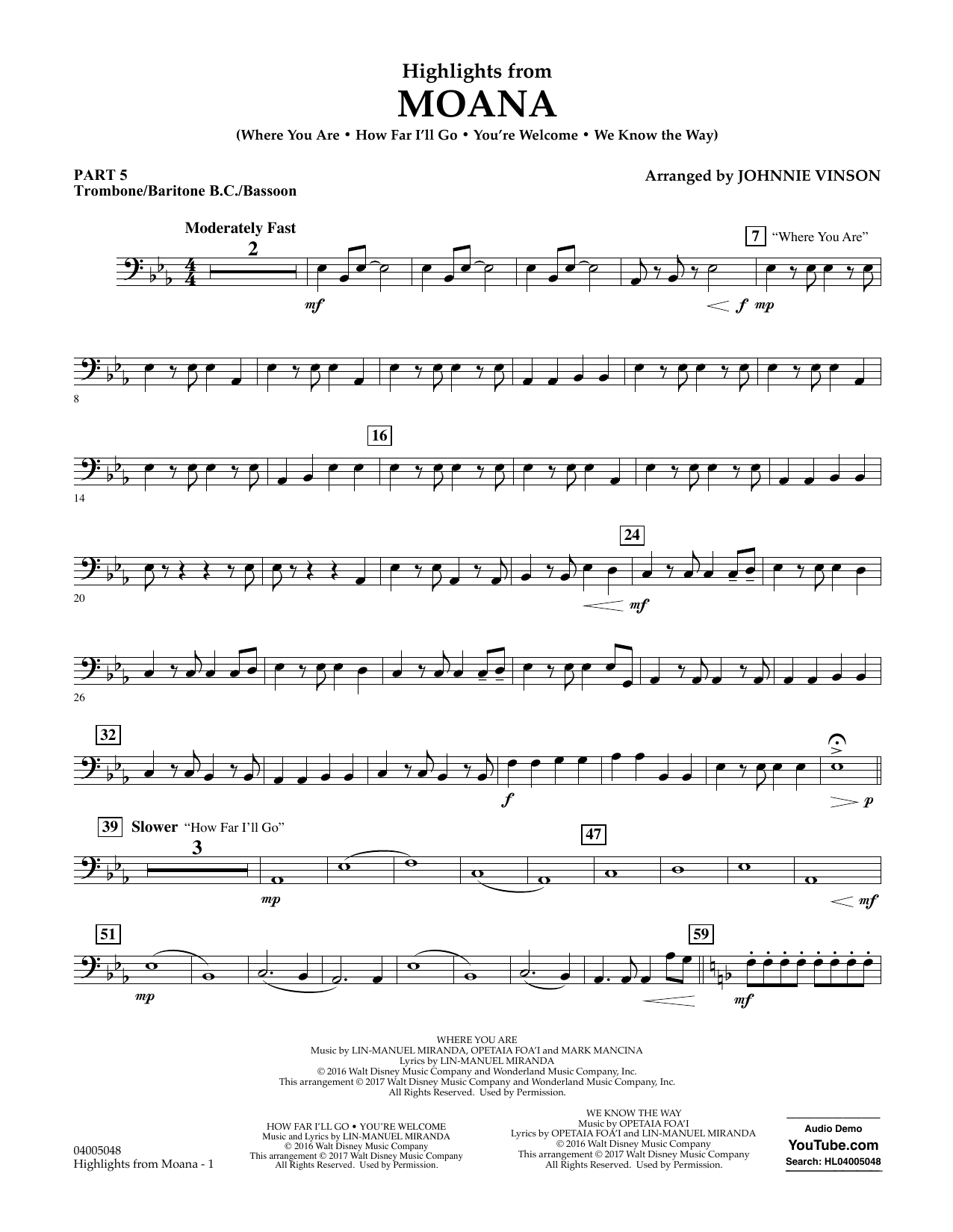 Highlights from Moana - Pt.5 - Trombone/Bar. B.C./Bsn. Sheet Music