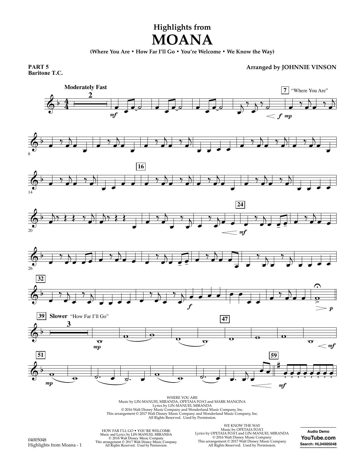 Highlights from Moana - Pt.5 - Baritone T.C. Sheet Music