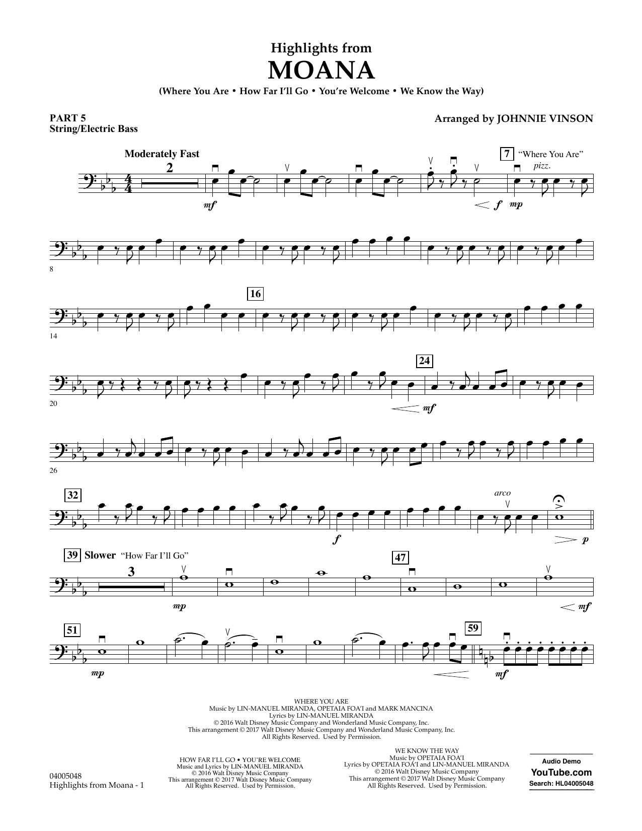 Highlights from Moana - Pt.5 - String/Electric Bass Sheet Music