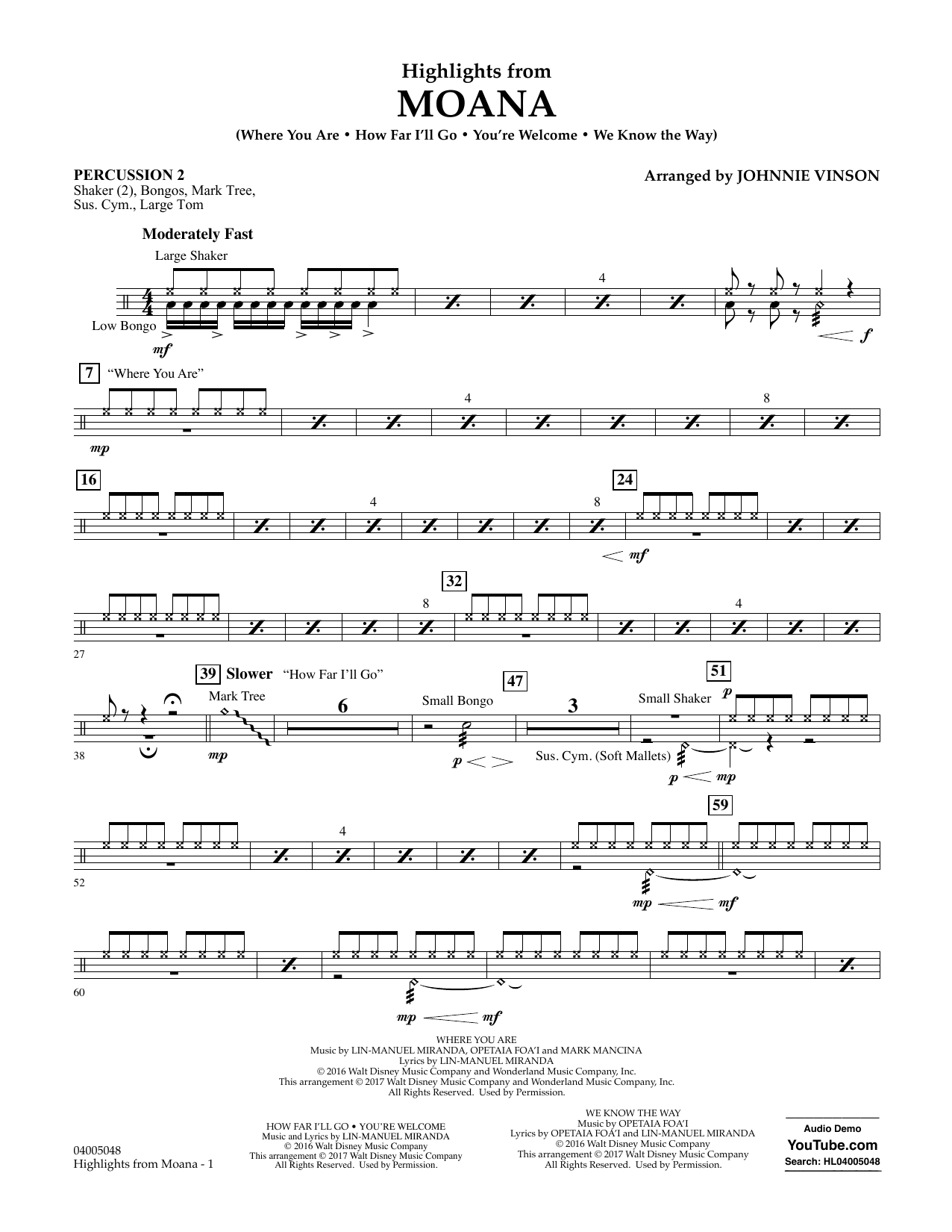 Highlights from Moana - Percussion 2 Sheet Music