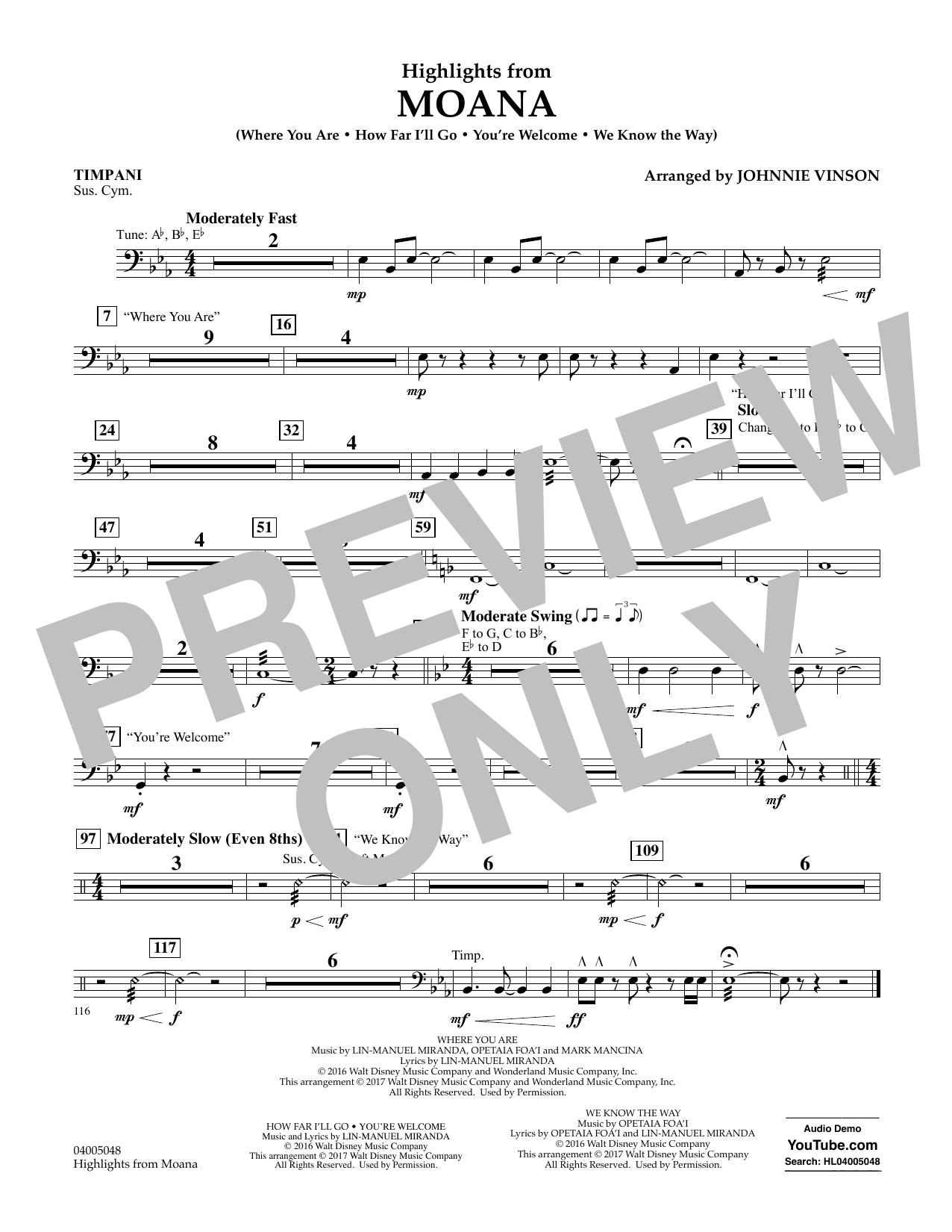 Highlights from Moana - Timpani Sheet Music