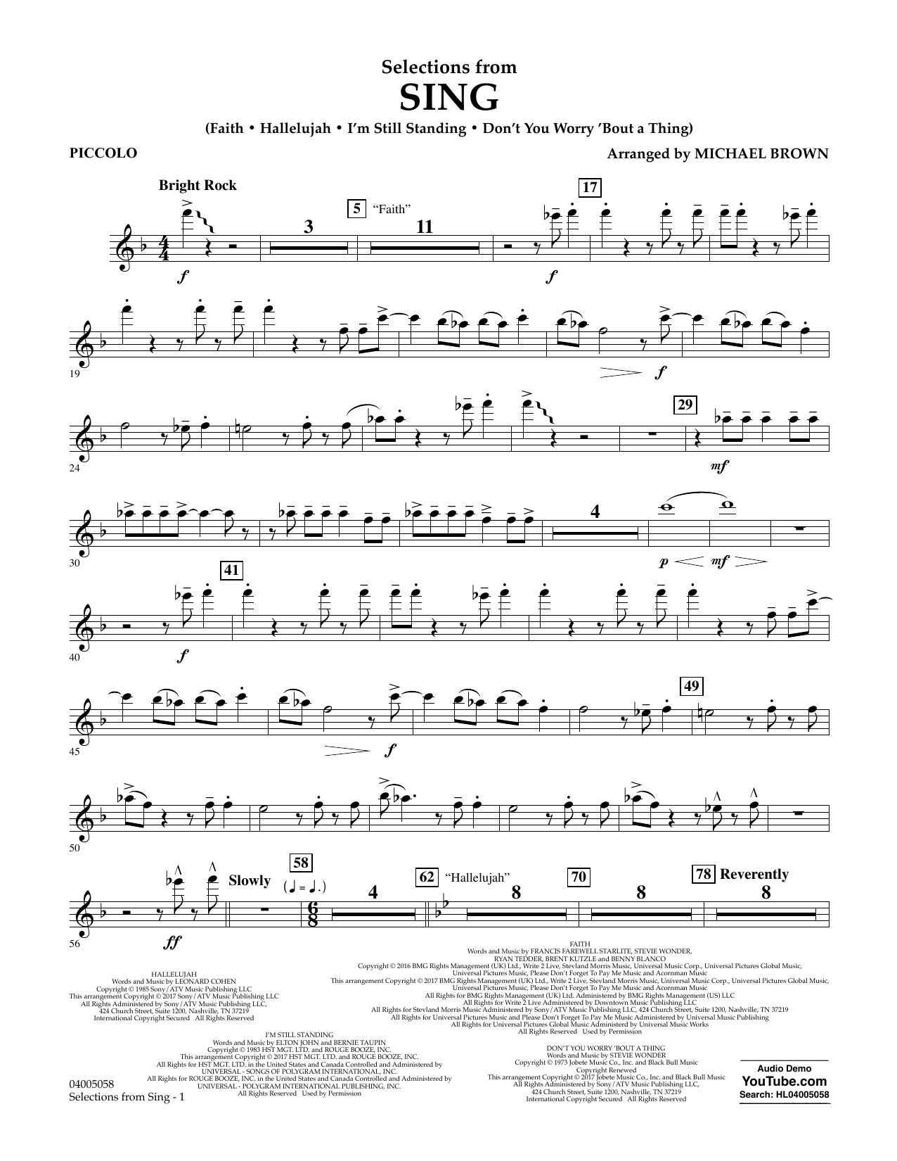 Selections from Sing - Piccolo Sheet Music