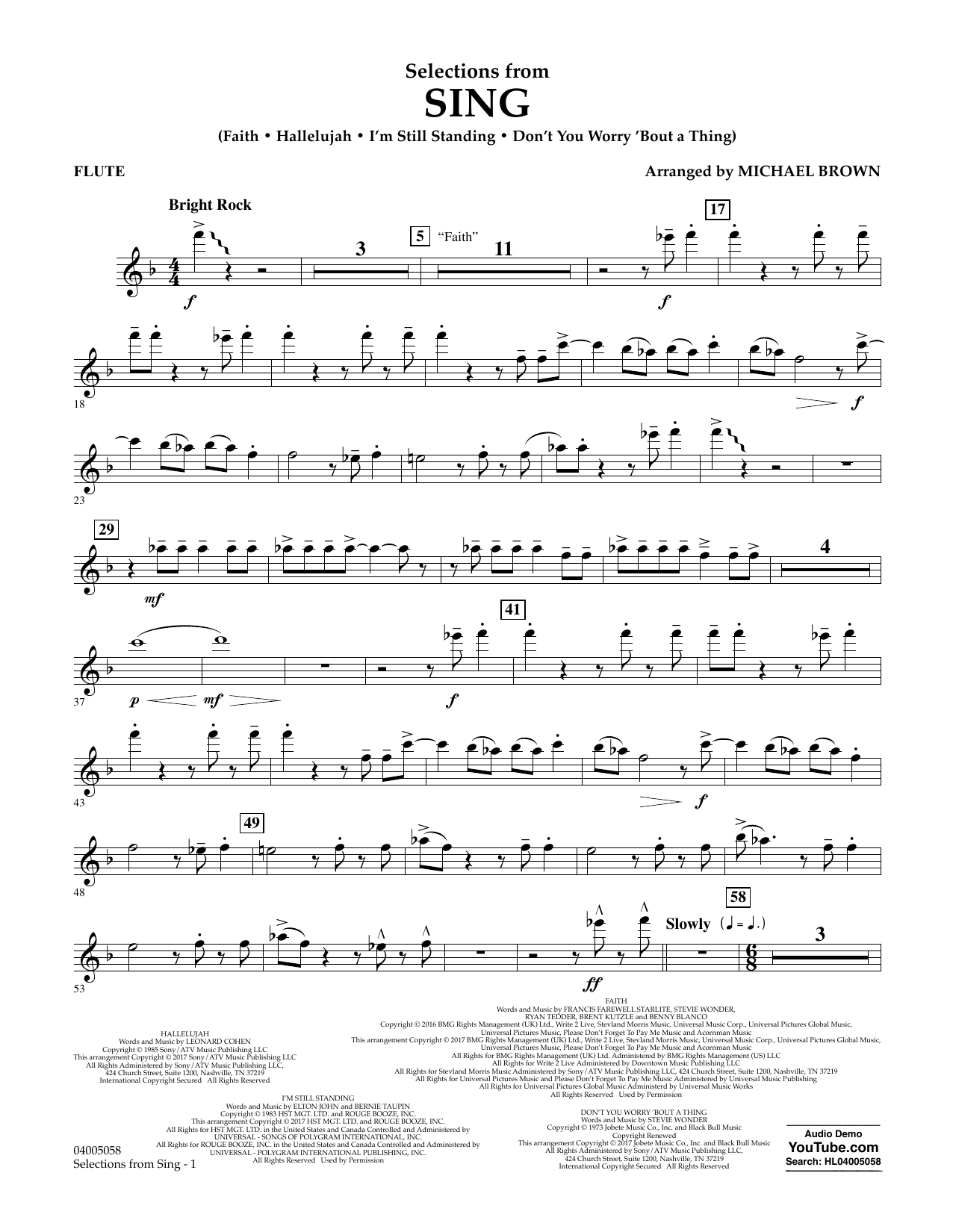 Selections from Sing - Flute Sheet Music
