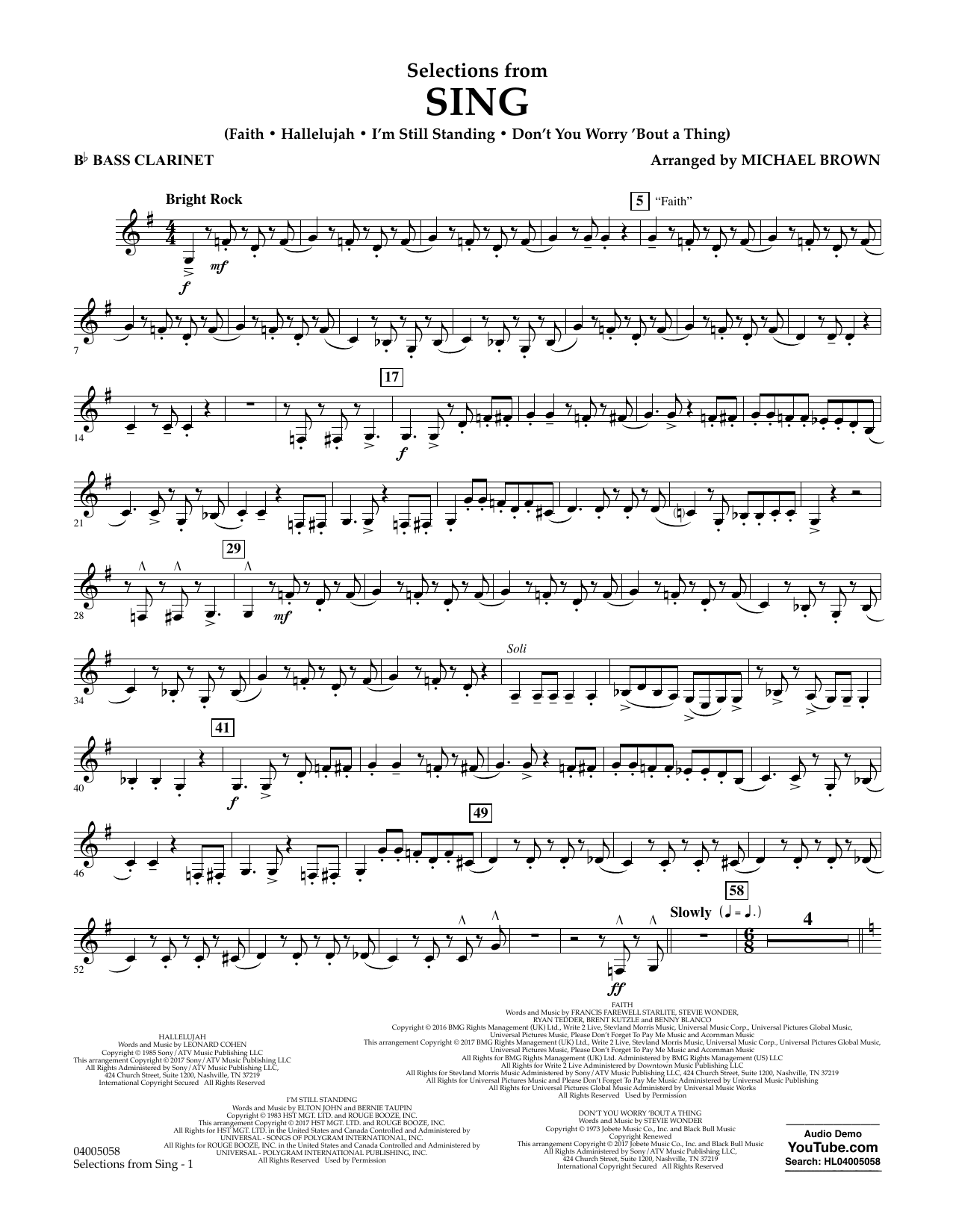 Selections from Sing - Bb Bass Clarinet Sheet Music