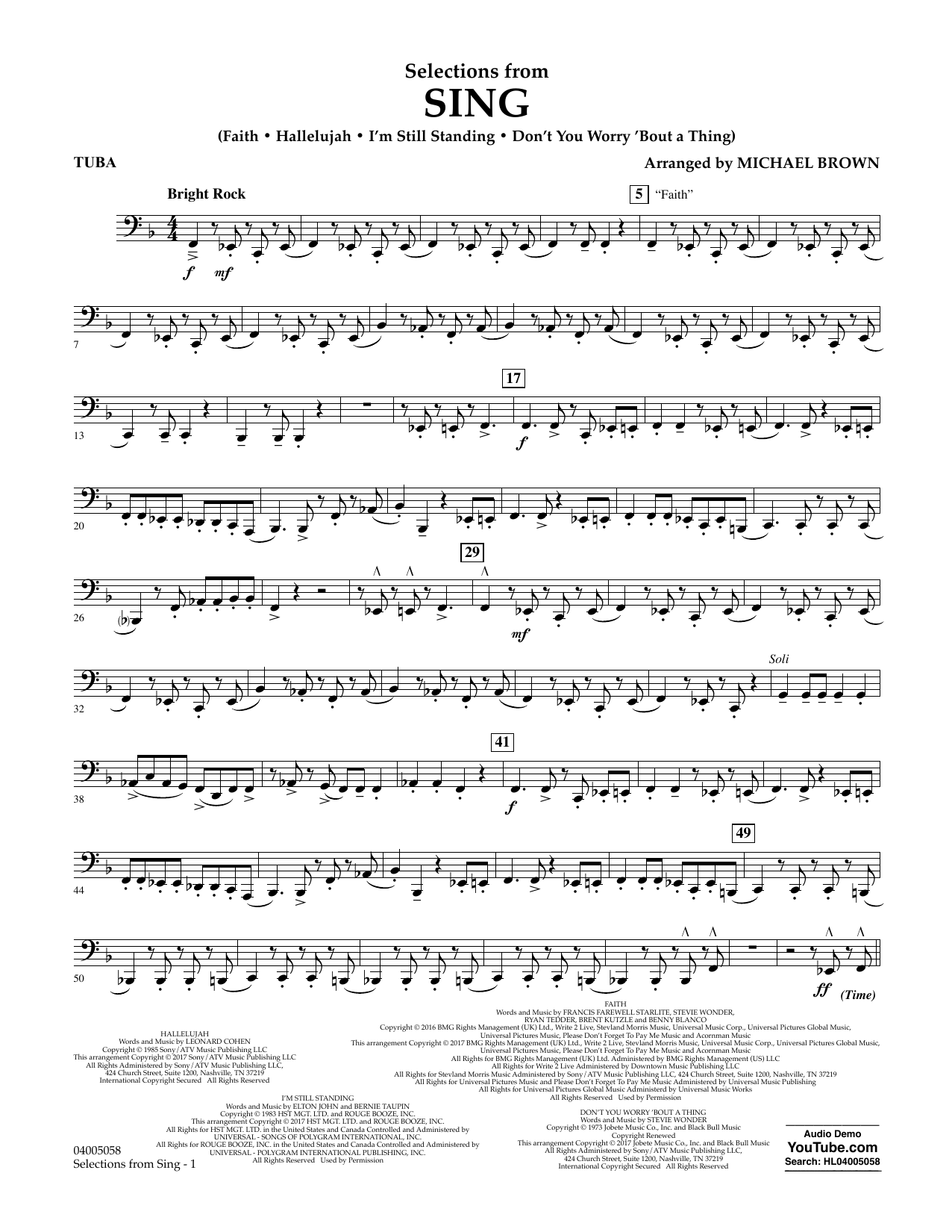 Selections from Sing - Tuba Sheet Music