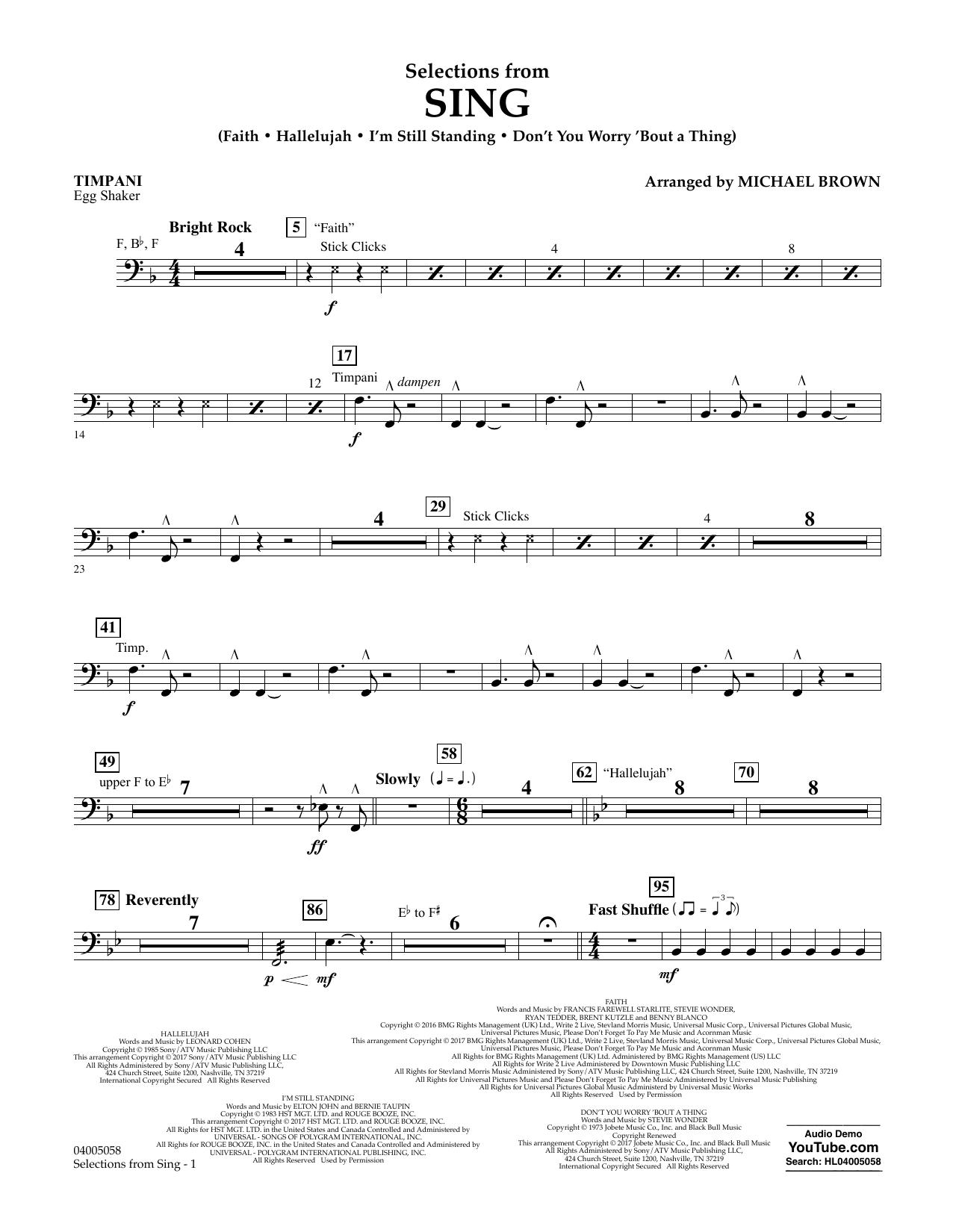 Selections from Sing - Timpani Sheet Music