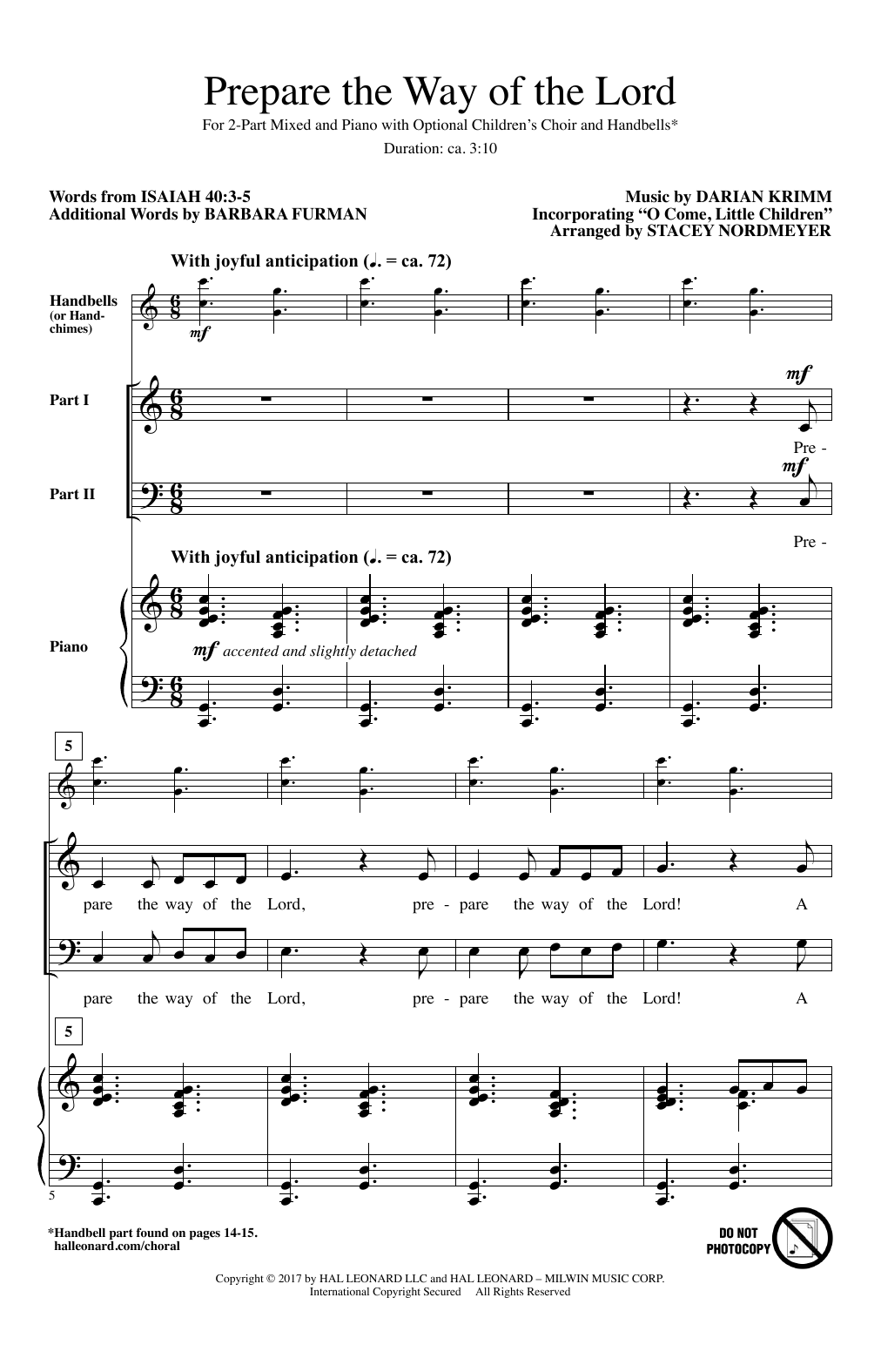 Prepare The Way Of The Lord (arr. Stacey Nordmeyer) (2-Part Choir)