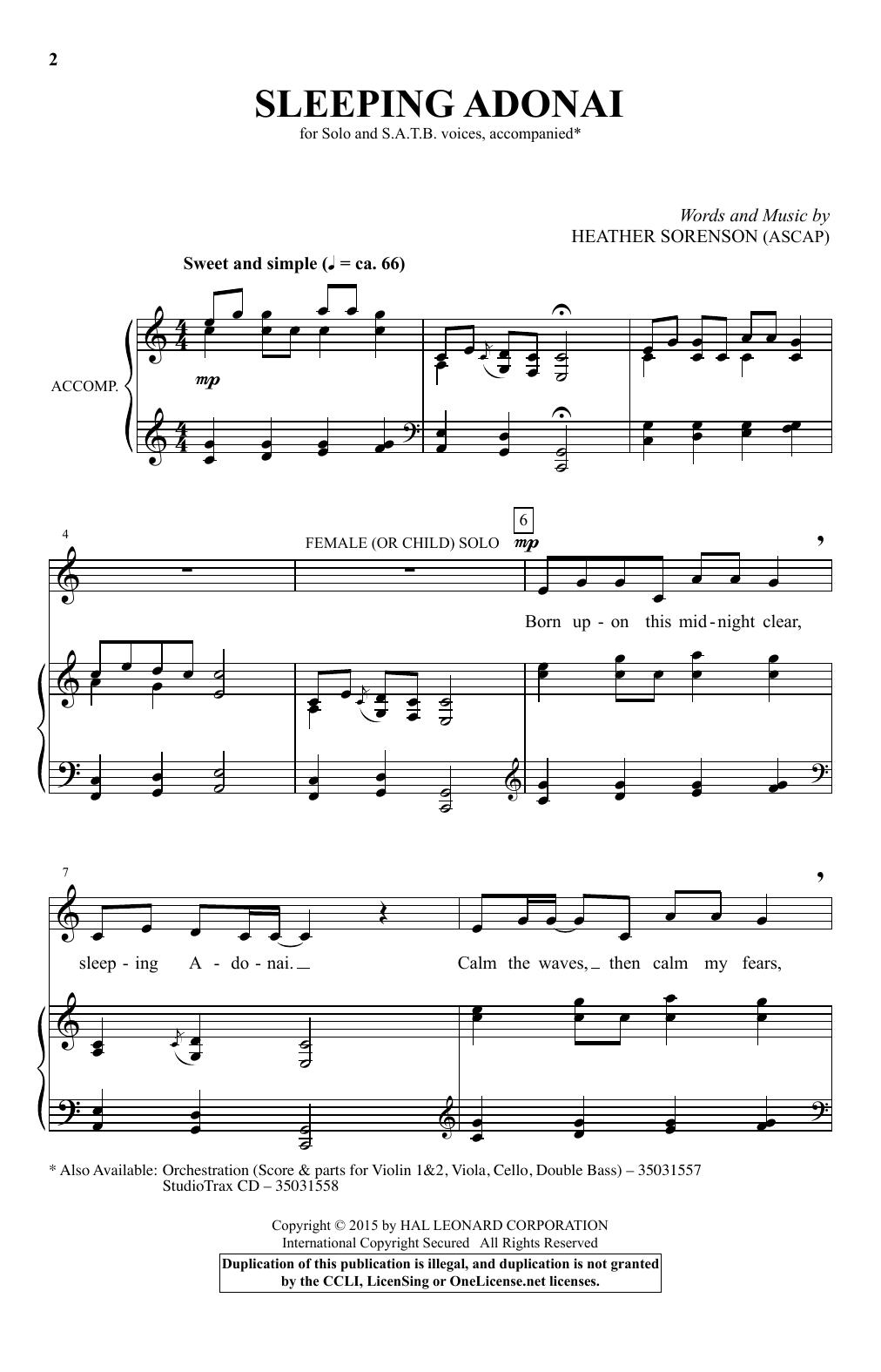 Sleeping Adonai (SATB Choir)