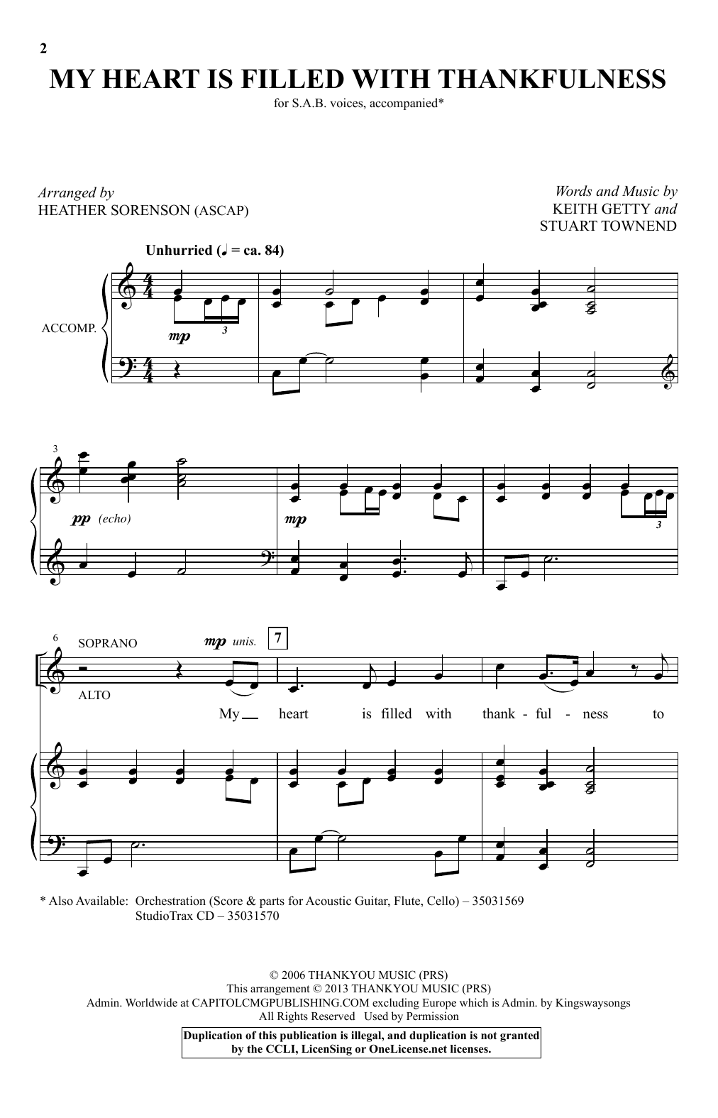 My Heart Is Filled With Thankfulness Sheet Music