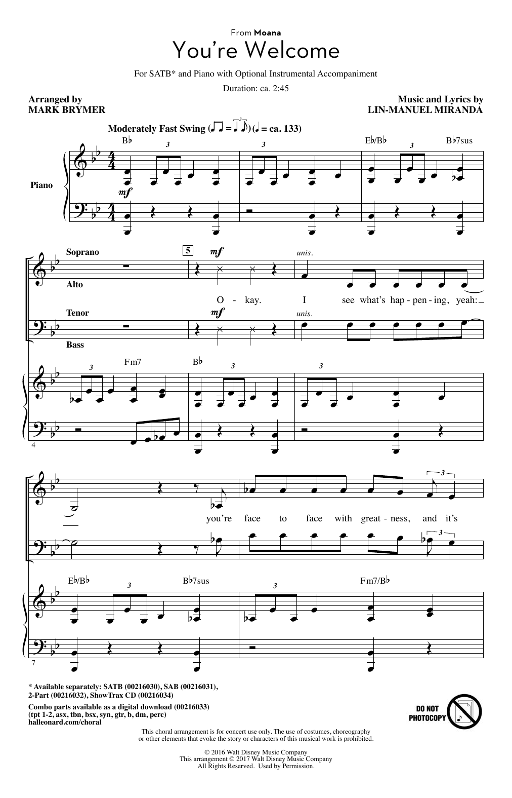 You're Welcome (from Moana) (arr. Mark Brymer) (SATB Choir)