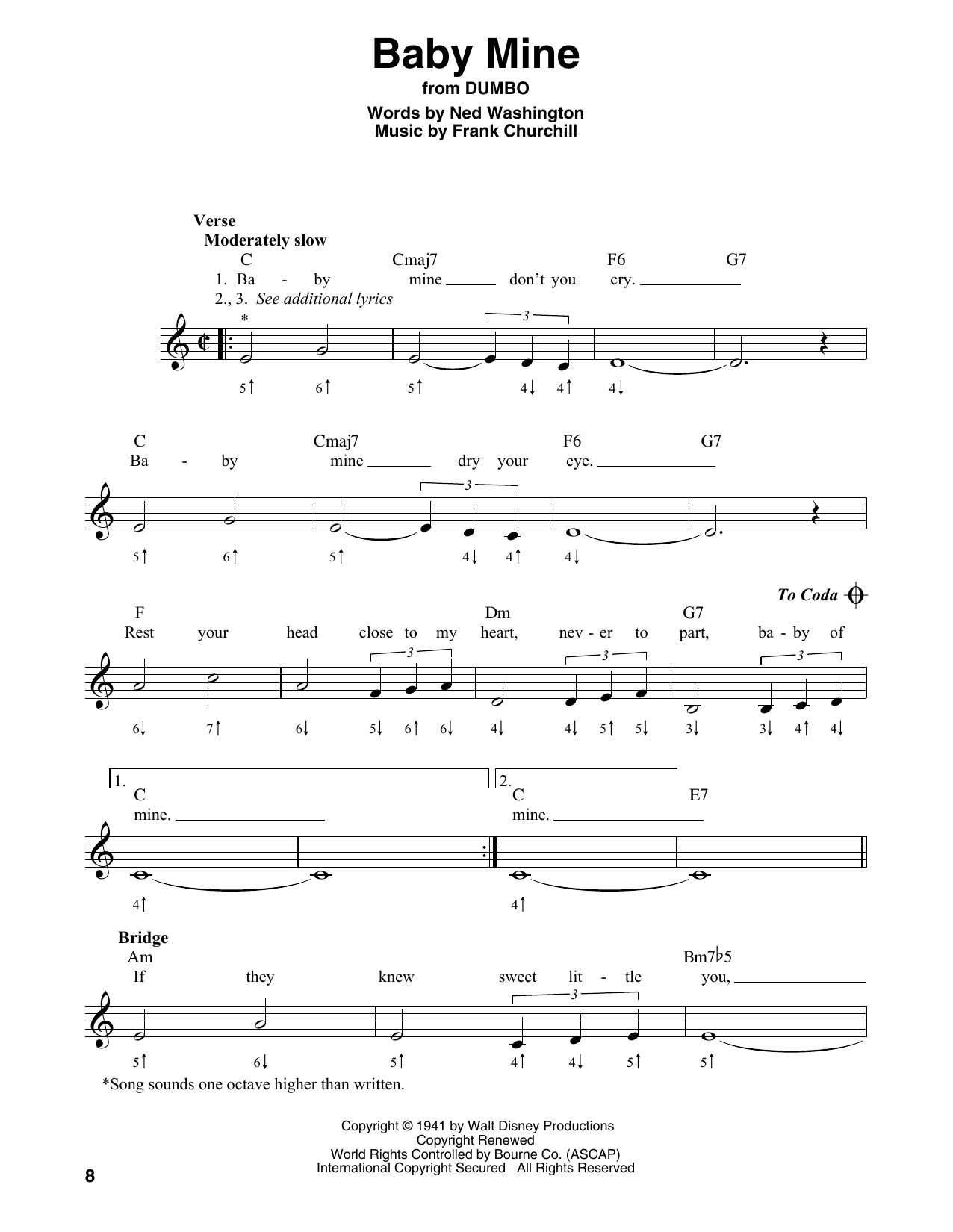 Baby Mine (from Walt Disney's Dumbo) Sheet Music