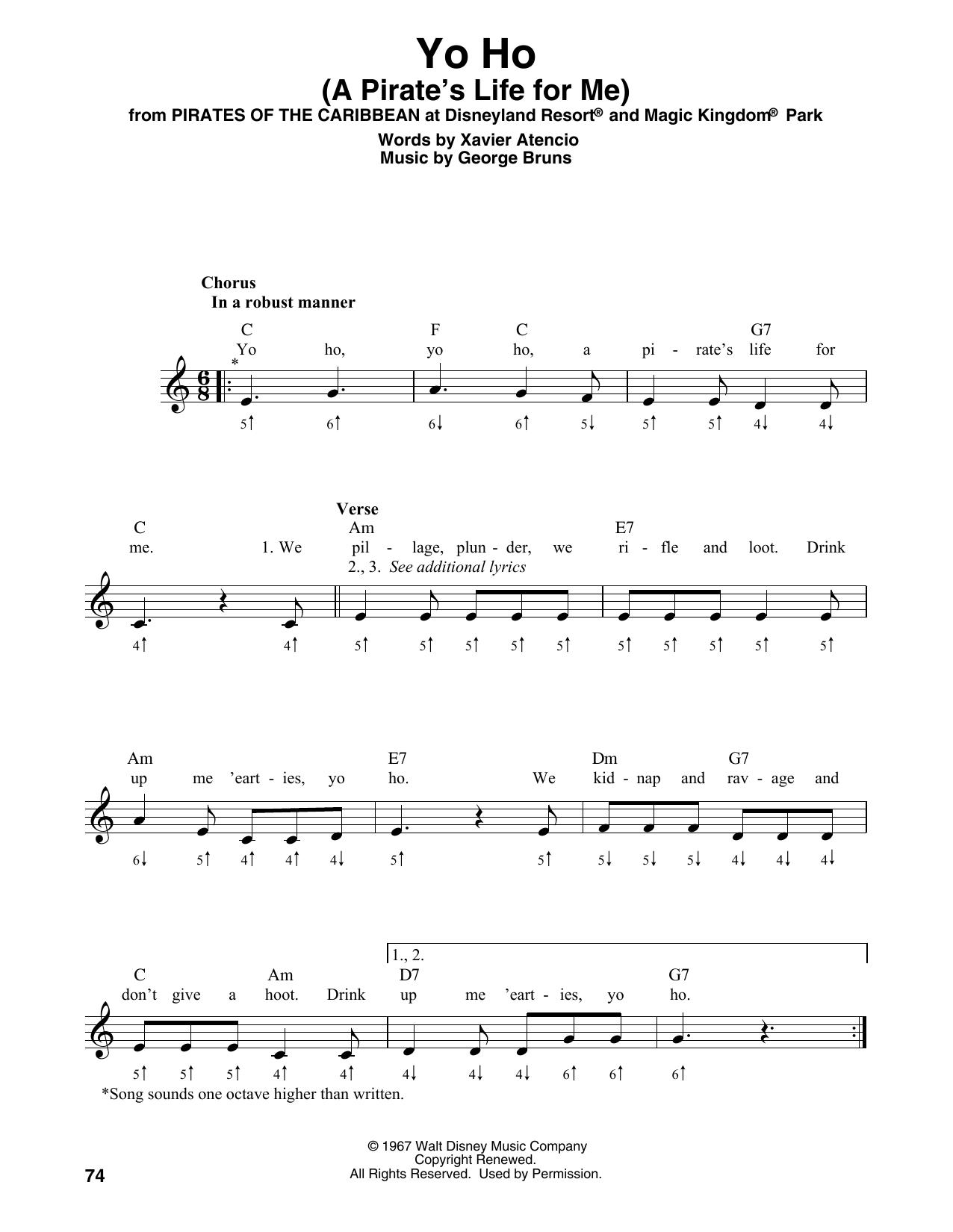 Yo Ho (A Pirate's Life For Me) (Harmonica)