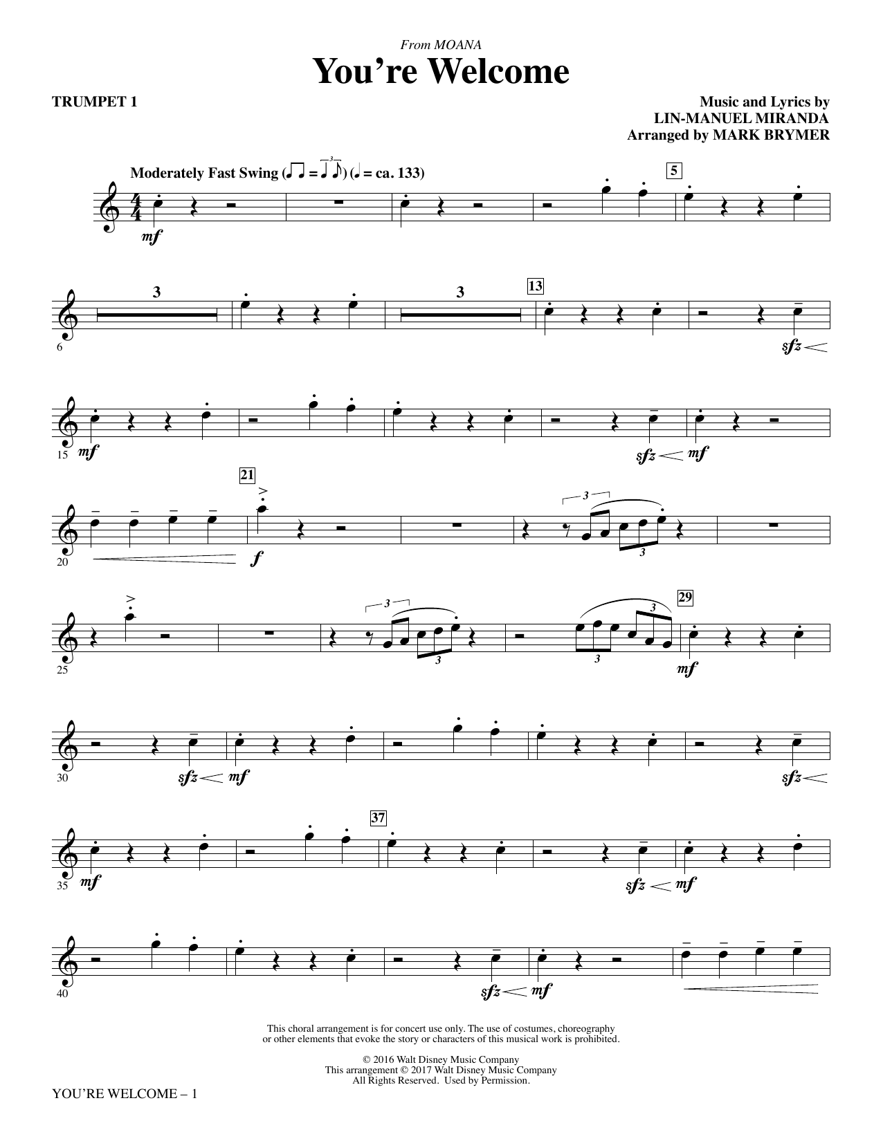 You're Welcome (complete set of parts) sheet music for orchestra/band by Mark Brymer and Lin-Manuel Miranda. Score Image Preview.