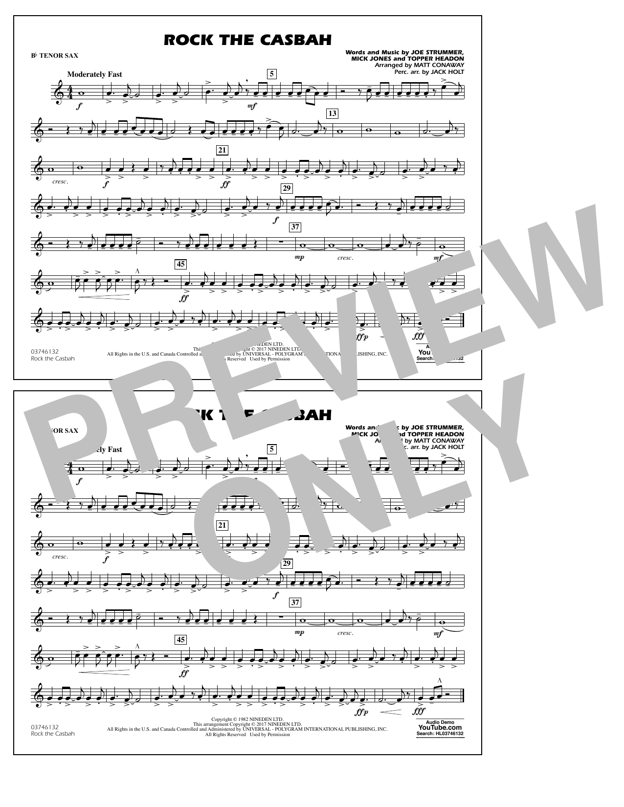 Rock the Casbah - Bb Tenor Sax Partition Digitale