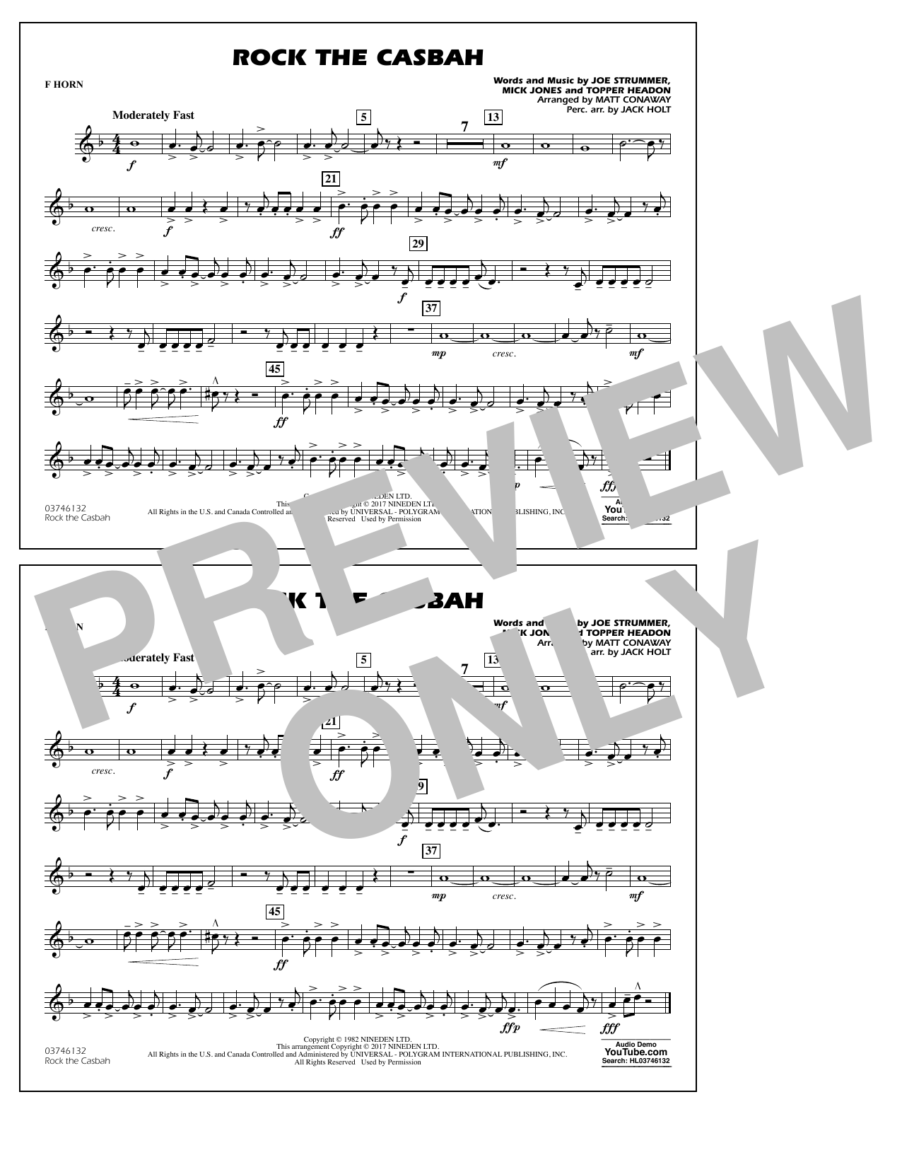 Rock the Casbah - F Horn Sheet Music