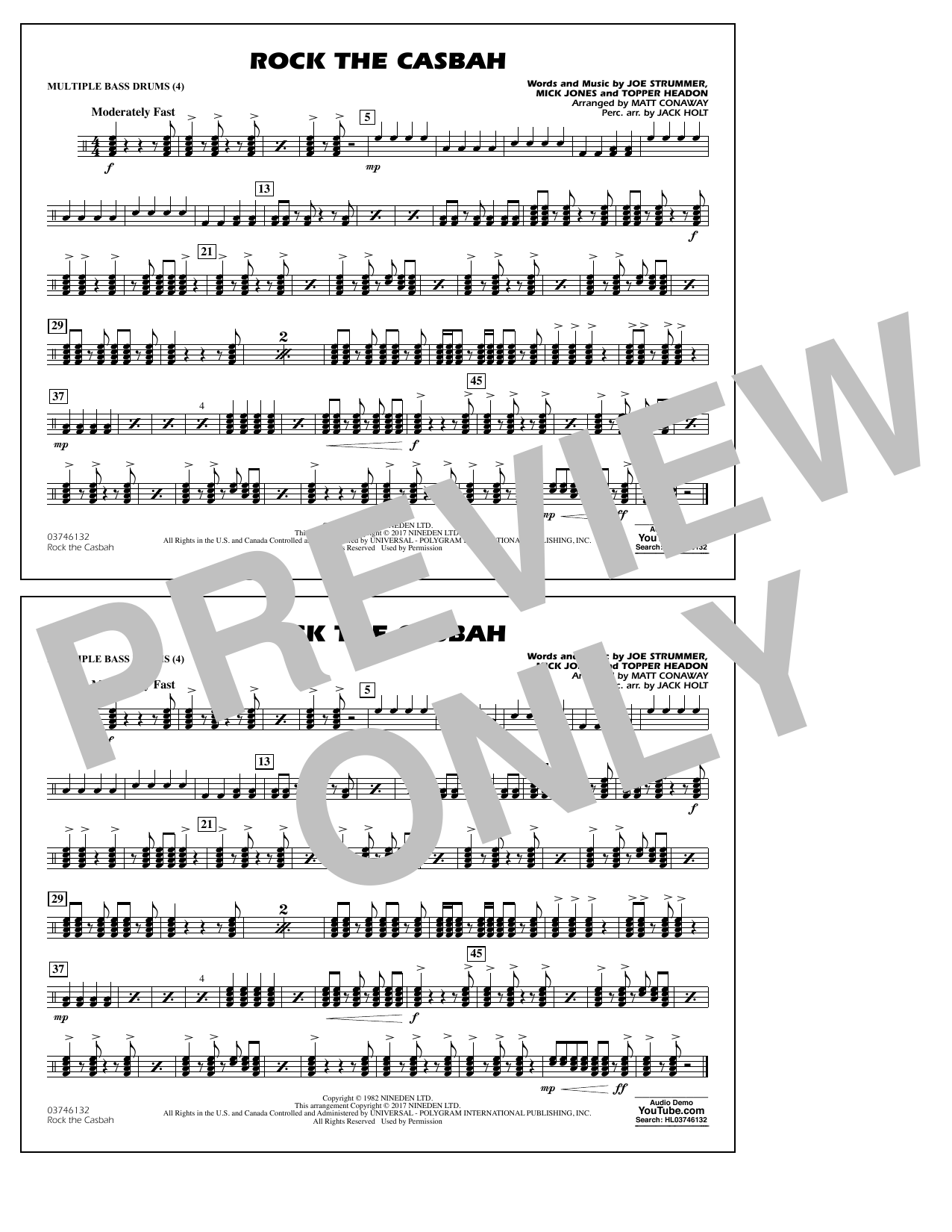 Rock the Casbah - Multiple Bass Drums Sheet Music