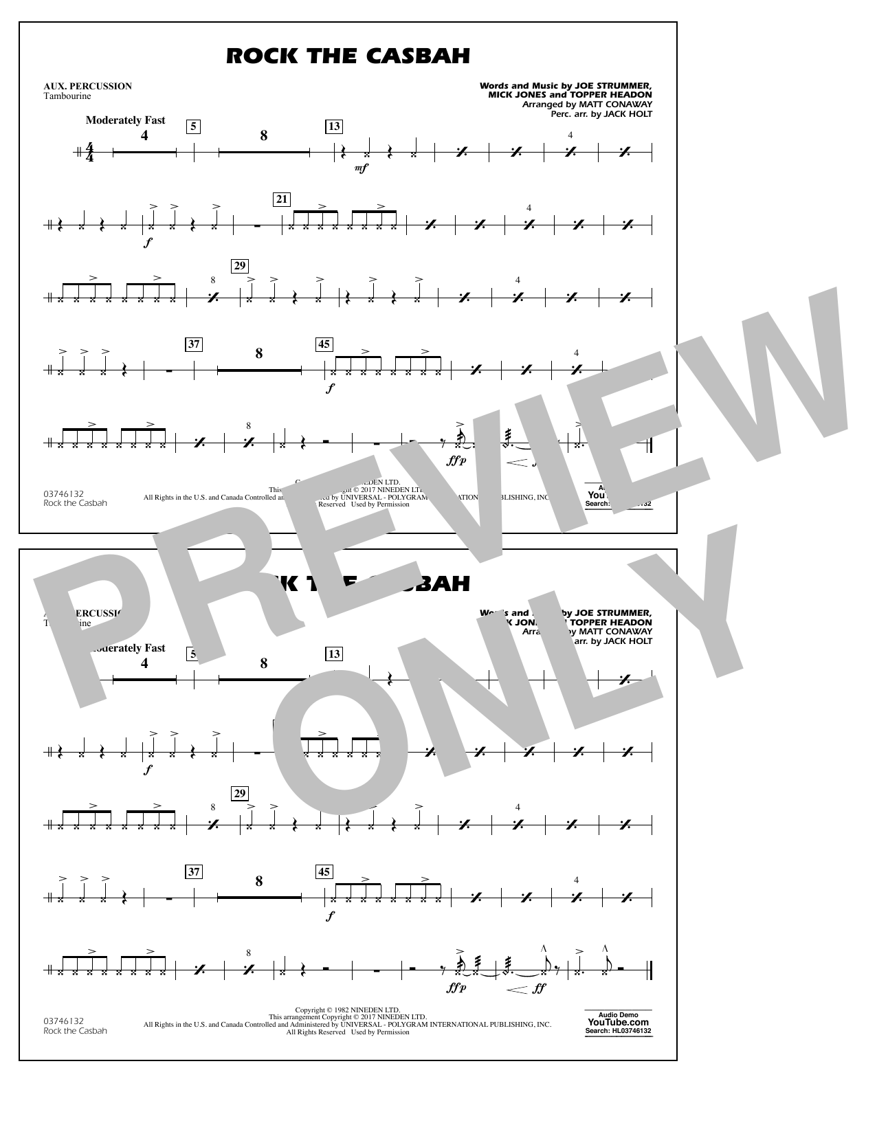 Rock the Casbah - Aux Percussion Sheet Music