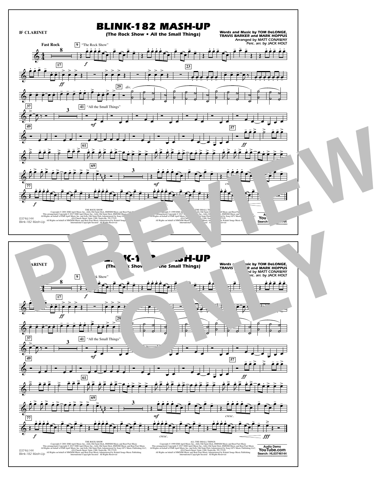 Blink-182 Mash-Up - Bb Clarinet Sheet Music