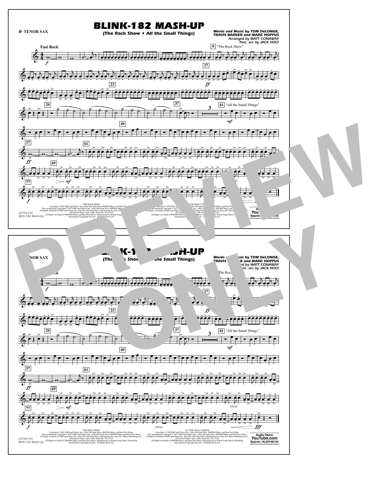 Blink-182 Mash-Up - Bb Tenor Sax Sheet Music