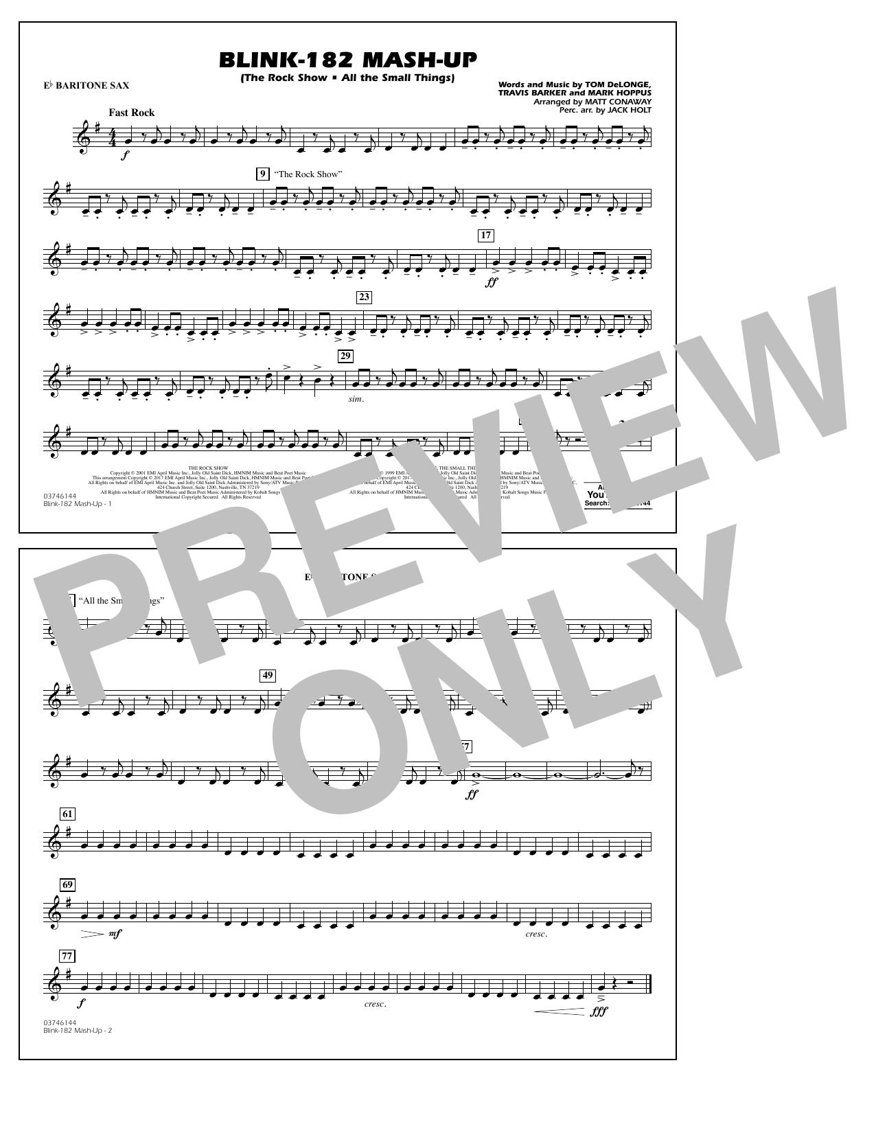 Blink-182 Mash-Up - Eb Baritone Sax Sheet Music