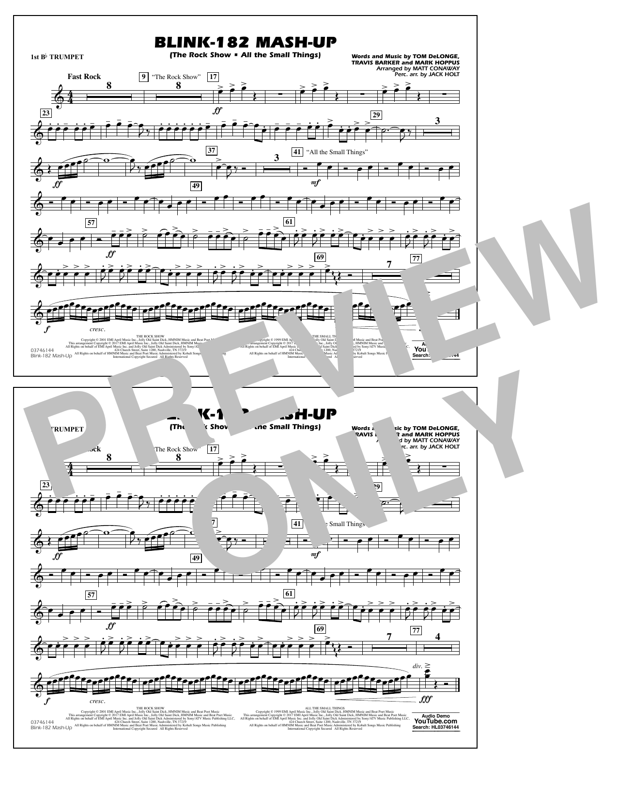 Blink-182 Mash-Up - 1st Bb Trumpet Sheet Music