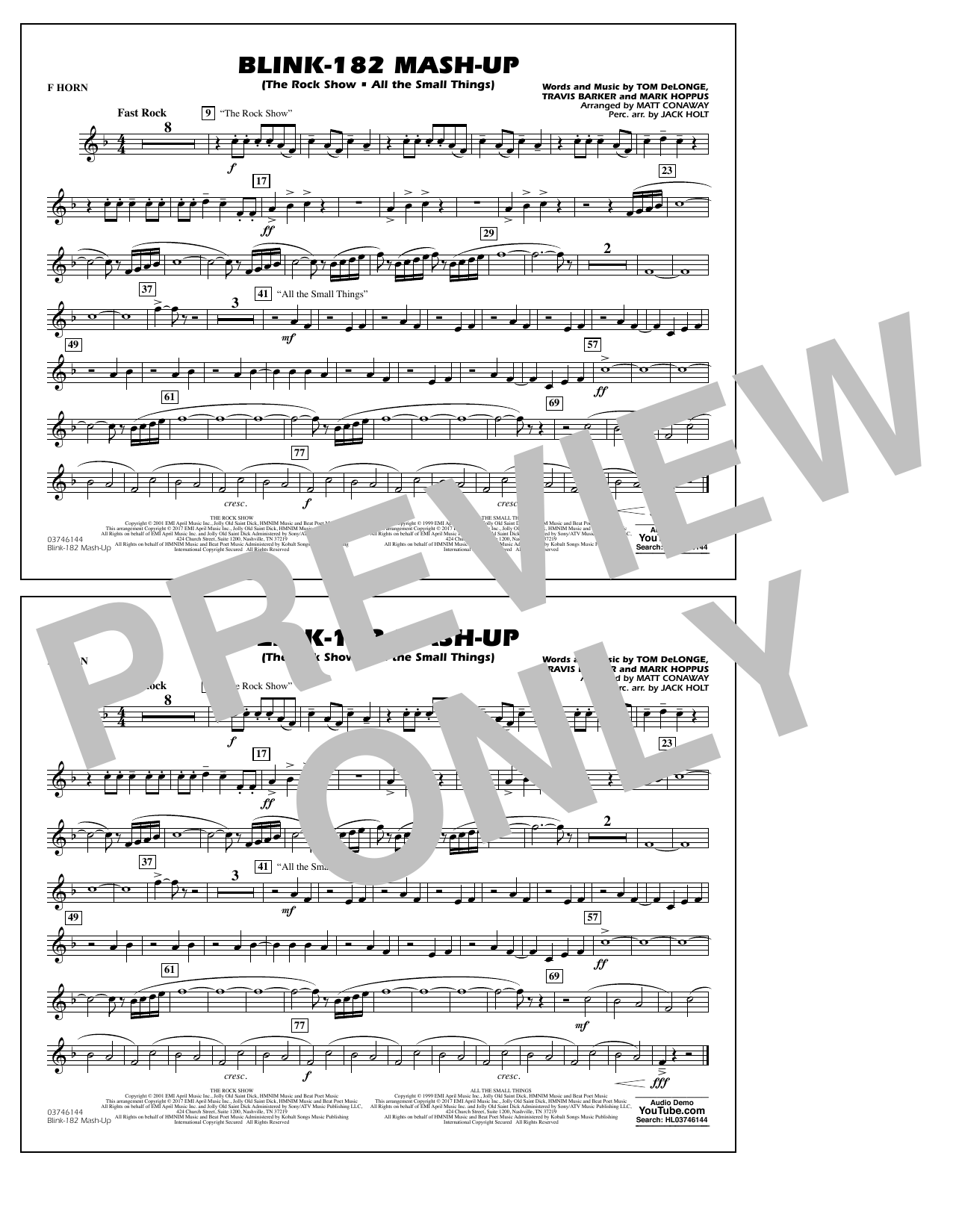 Blink-182 Mash-Up - F Horn Sheet Music