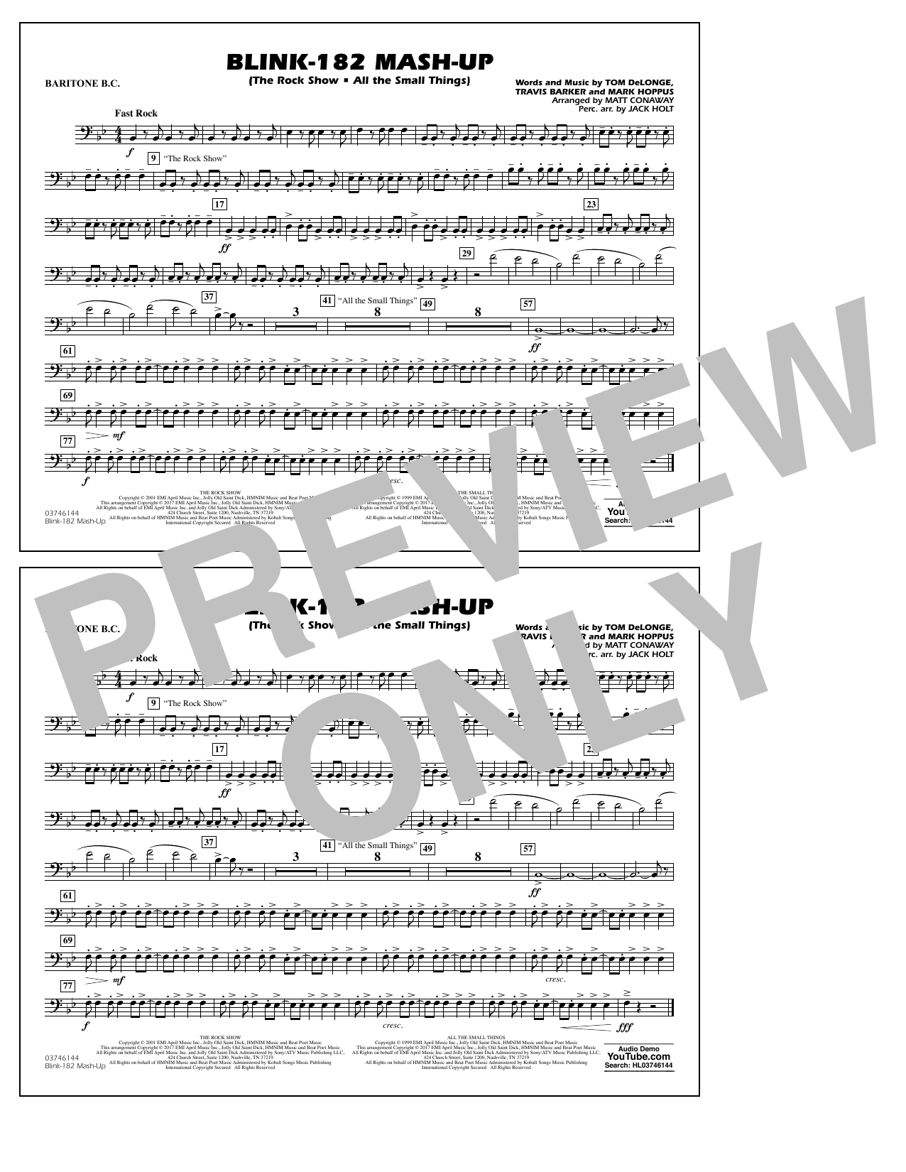 Blink-182 Mash-Up - Baritone B.C. Sheet Music