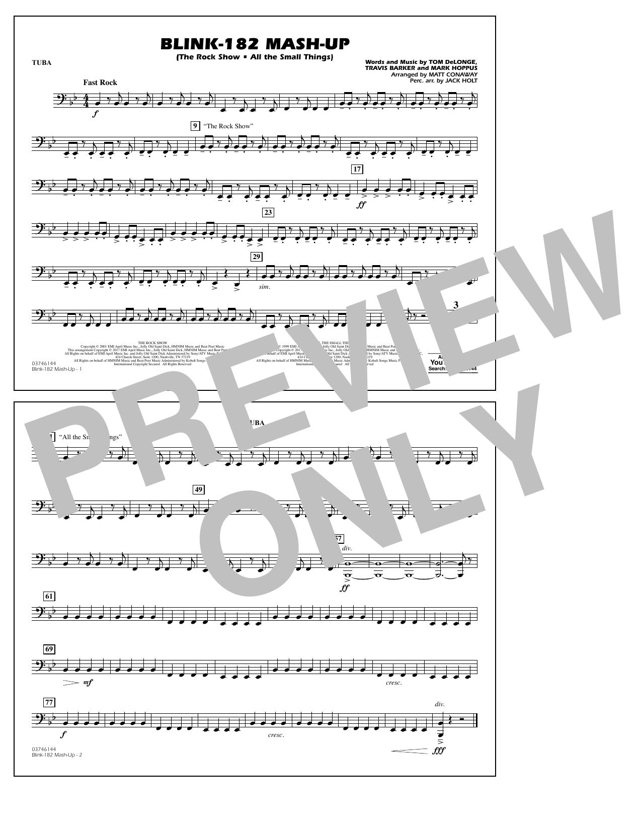Blink-182 Mash-Up - Tuba Sheet Music