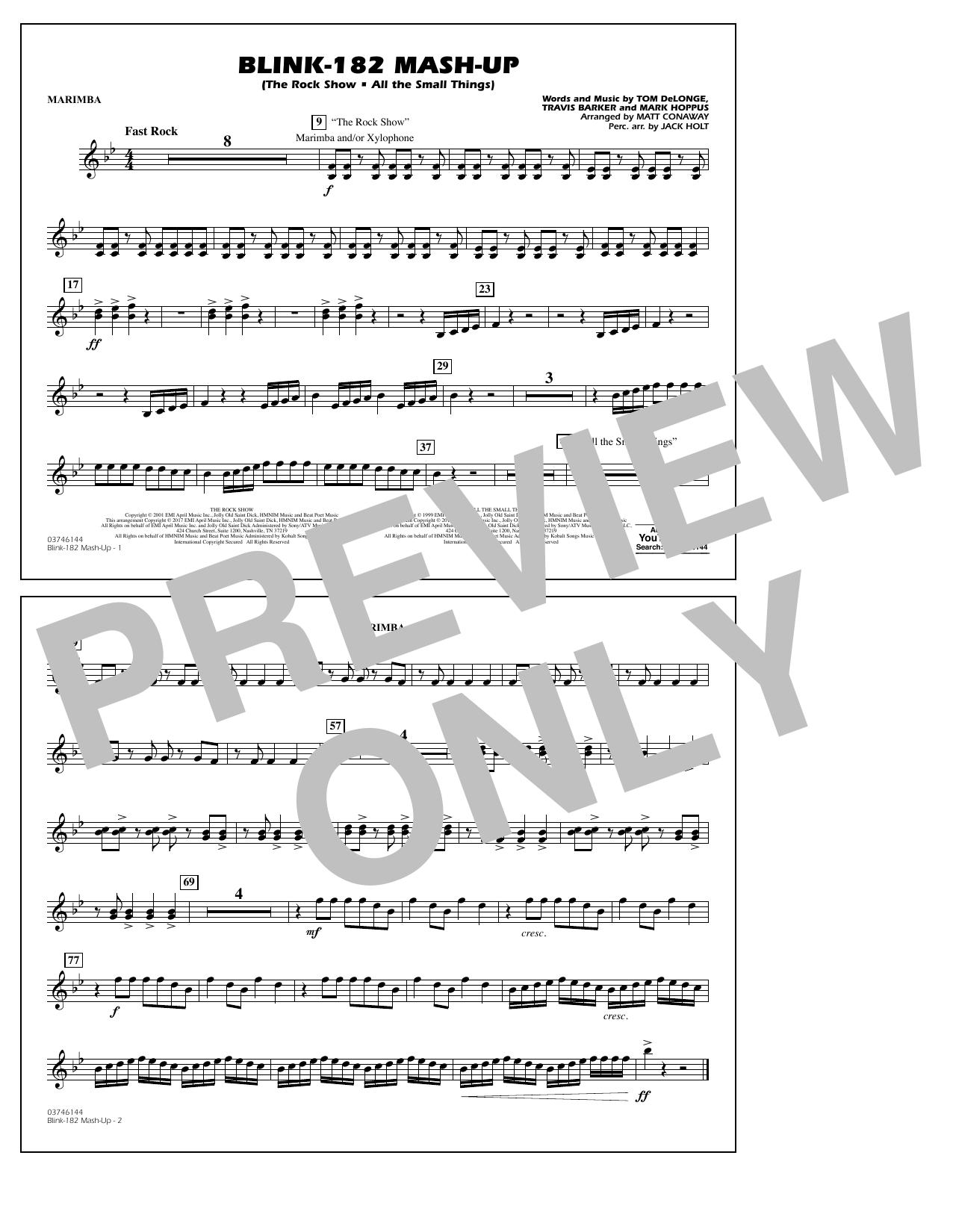 Blink-182 Mash-Up - Marimba Sheet Music
