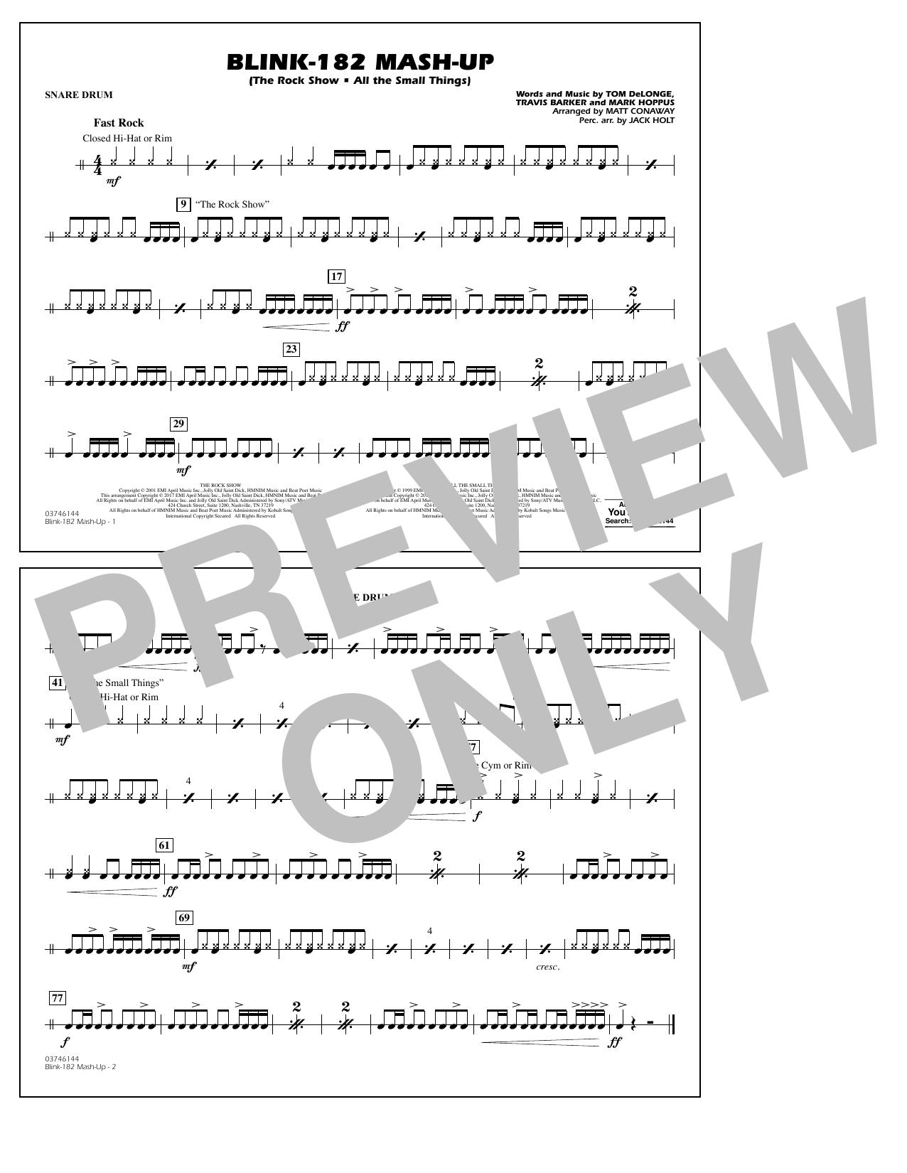 Blink-182 Mash-Up - Snare Drum Sheet Music