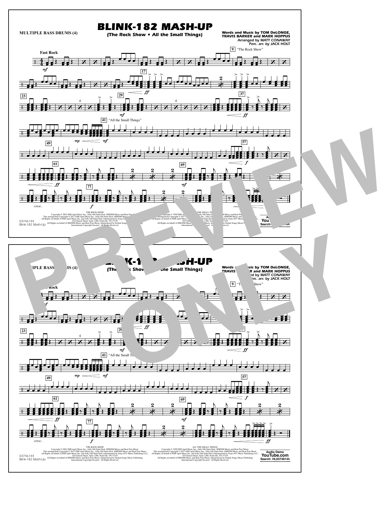 Blink-182 Mash-Up - Multiple Bass Drums Sheet Music