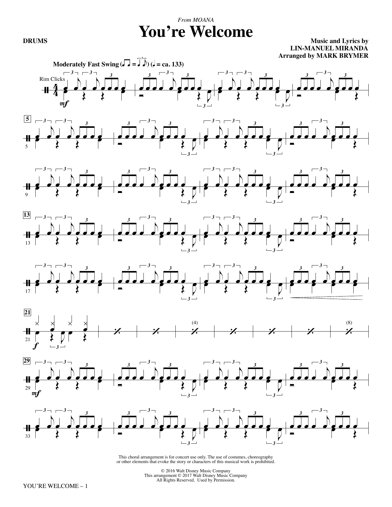 You're Welcome - Drums Sheet Music