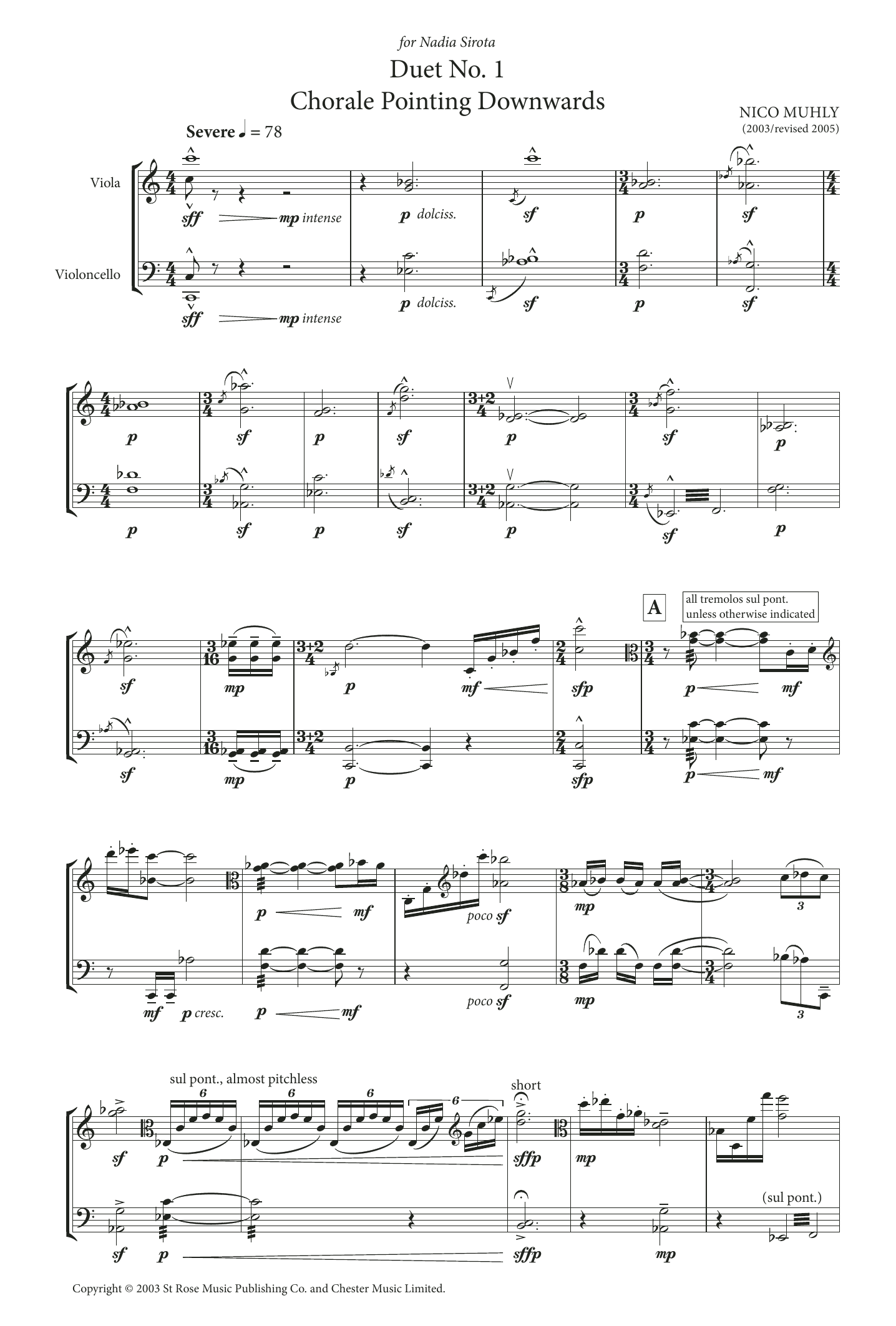 Duet No. 1 (Chorale Pointing Downwards) (for Viola and Cello) Sheet Music