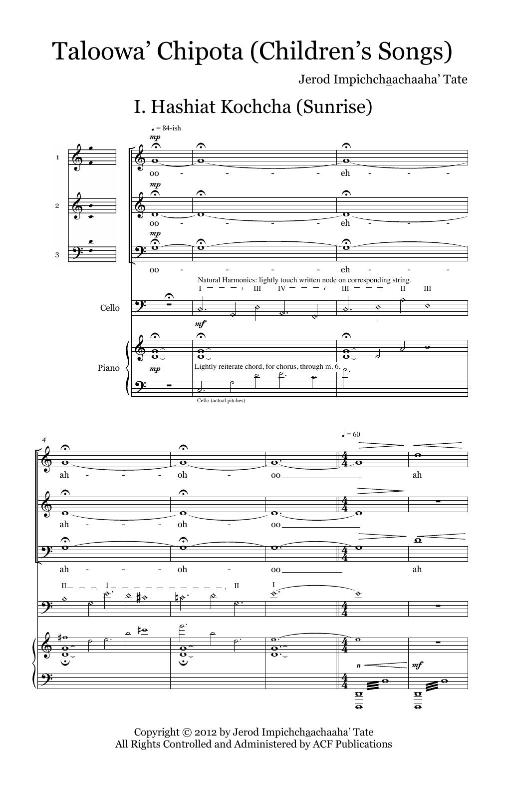 Taloowa' Chipota (Children's Songs) Sheet Music