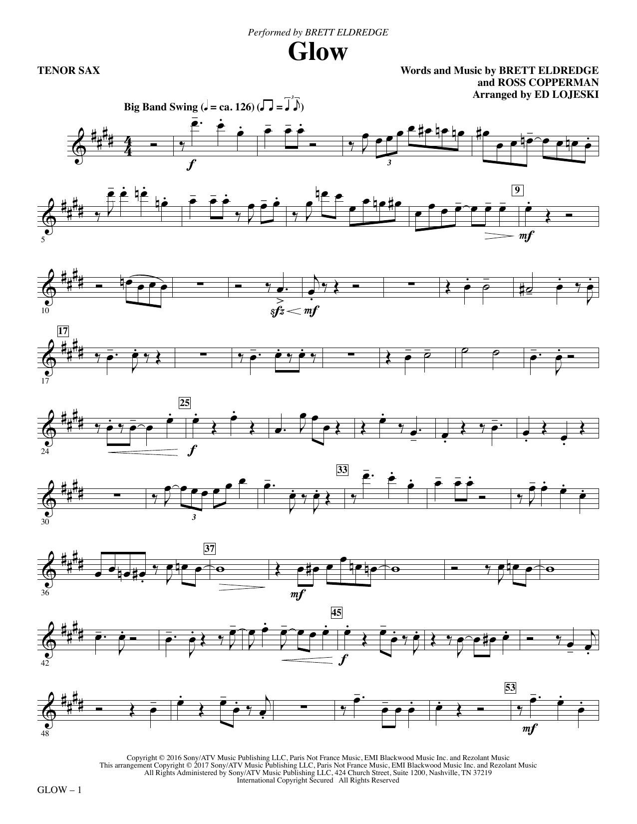 Glow - Tenor Sax Sheet Music